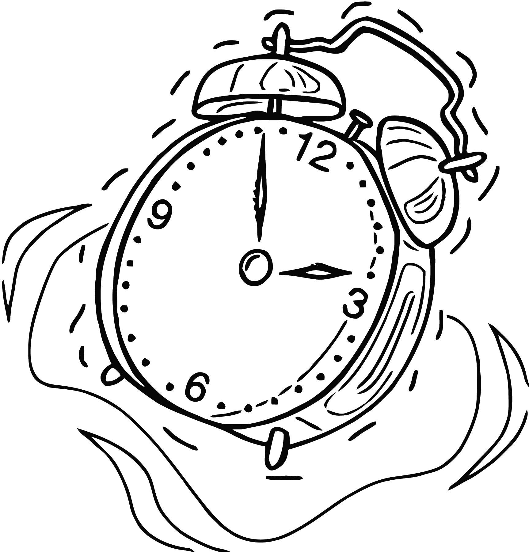 Alarm Clock Free Printable 03 Cartoonized Free Printable Coloring Page