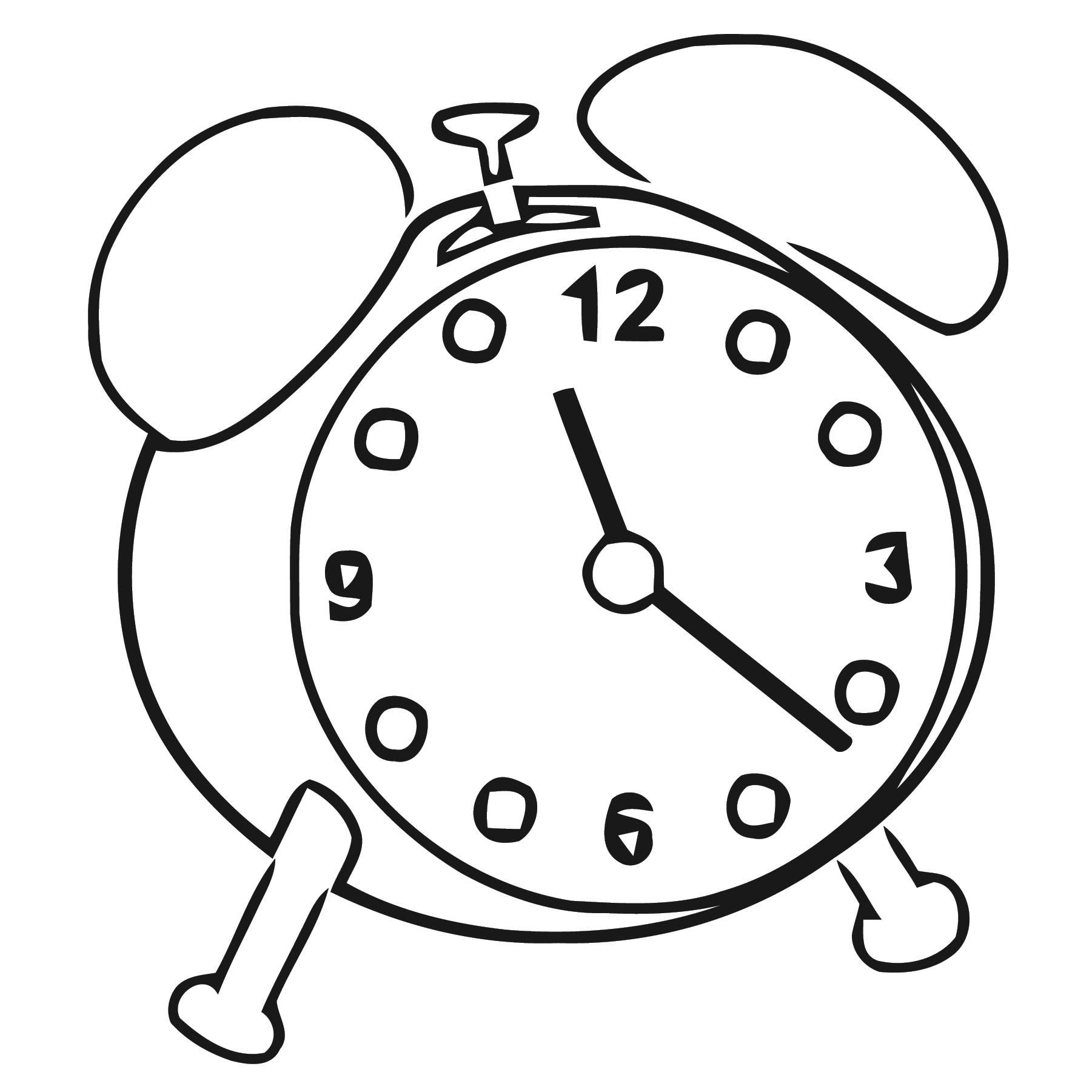 Alarm Clock Free Printable 1 Cartoonized Free Printable Coloring Page