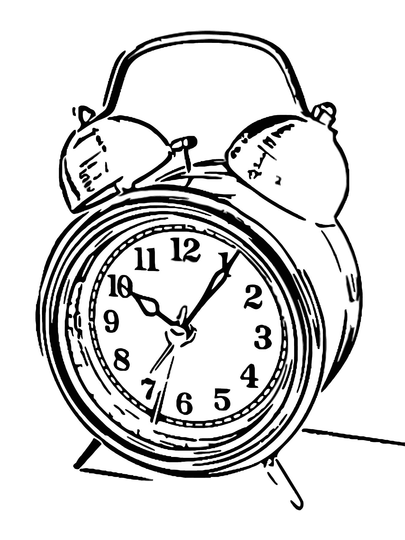 Alarm Clocks 201011 Free Printable 05 Cartoonized Free Printable Coloring Page