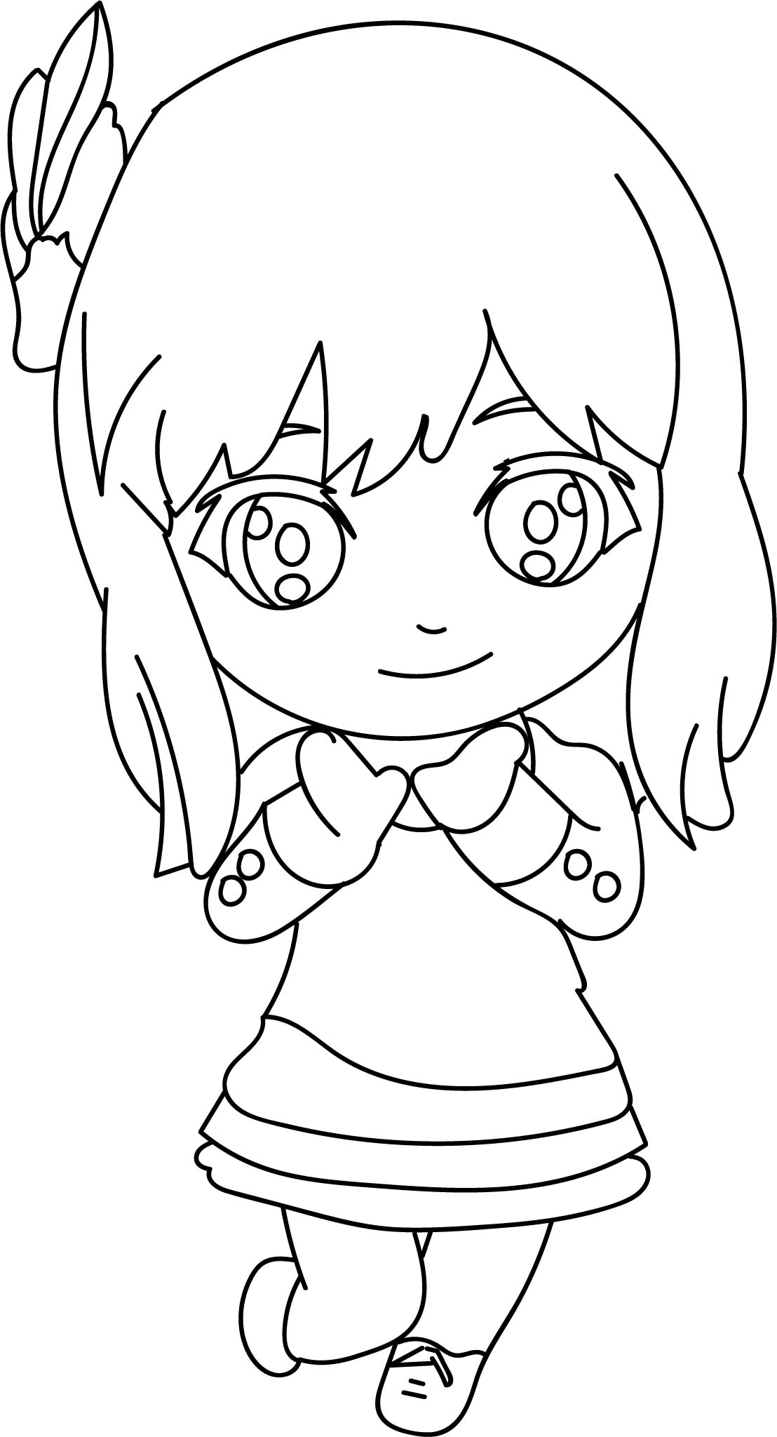 Anime Chibi Cute Girl Coloring Page