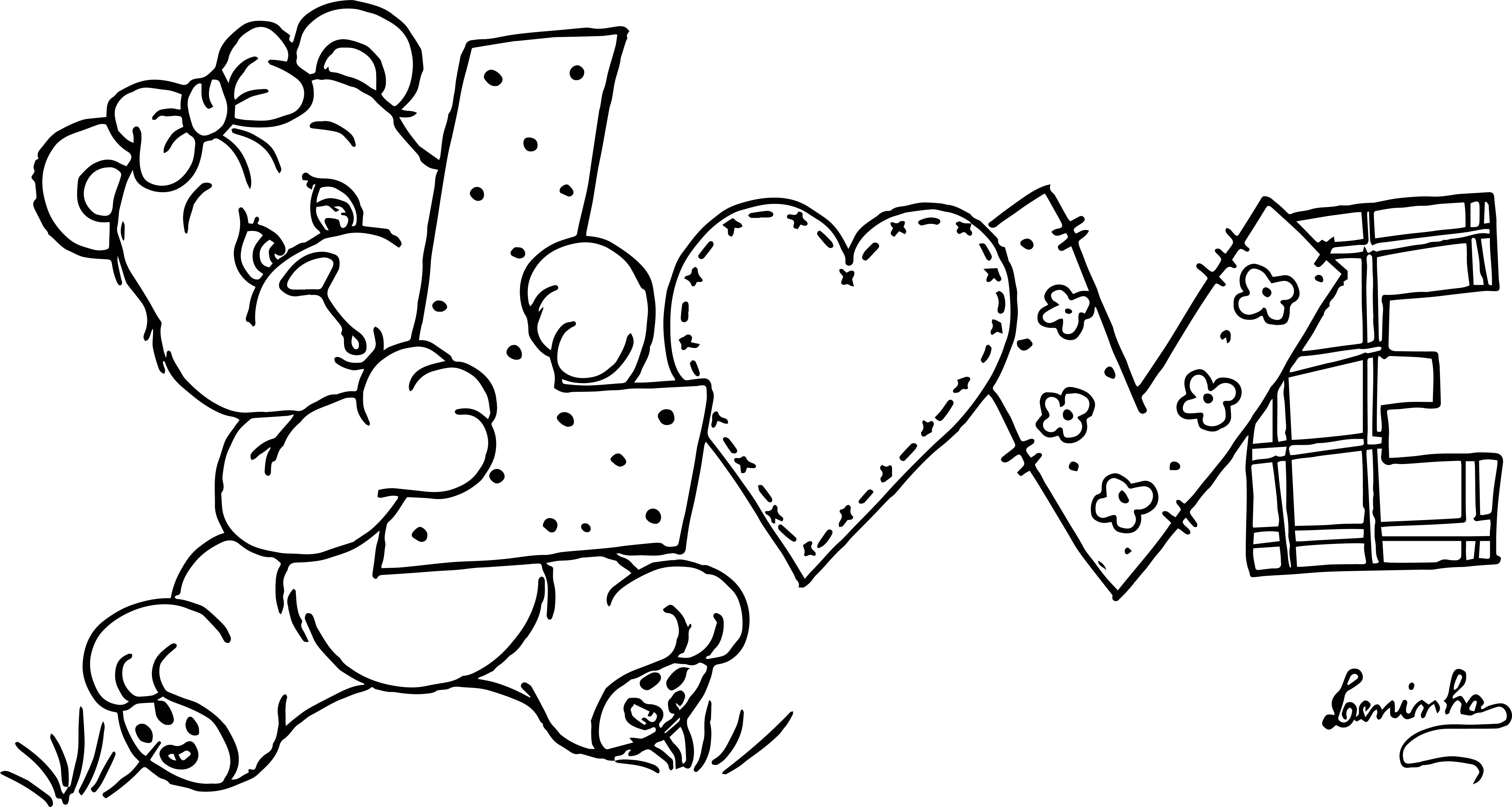 Bear Love Shape Coloring Page