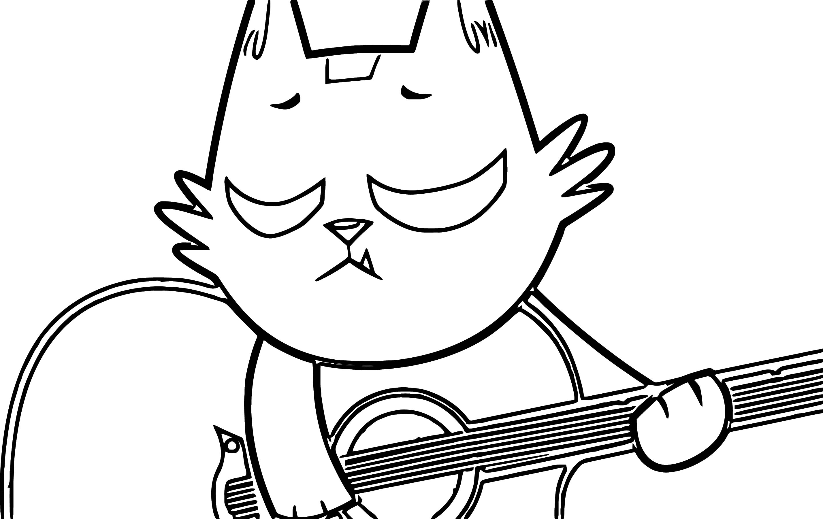 Beast Boy Cat With Guitar Coloring Page