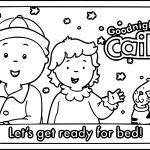 Caillou Get Ready For Bed Coloring Page