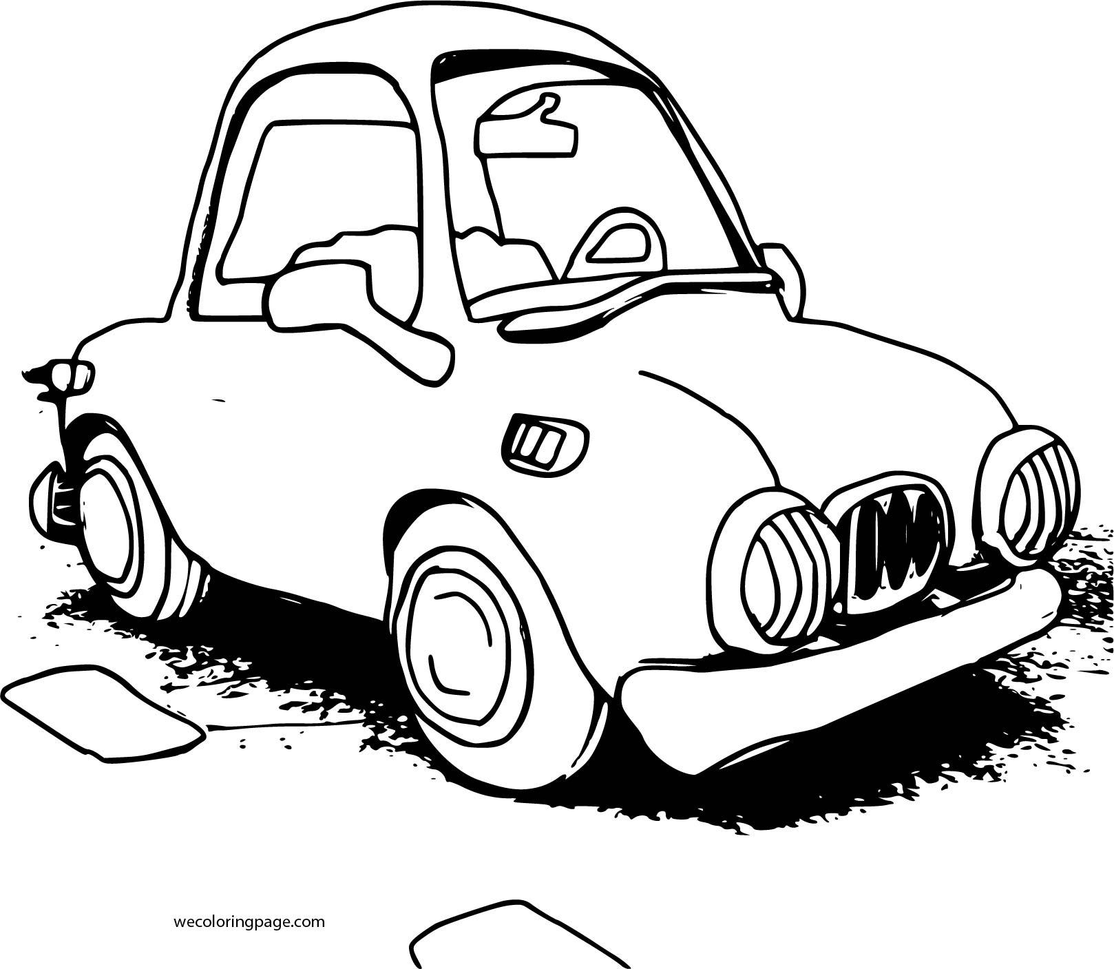Cartoon Car Sedan Coloring Page