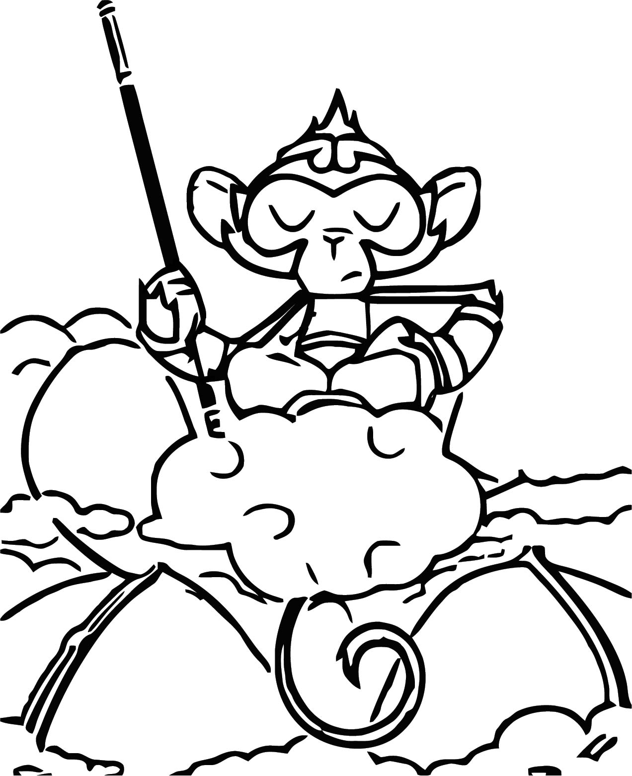Character Designs Monkey Cloud Cartoon Coloring Page