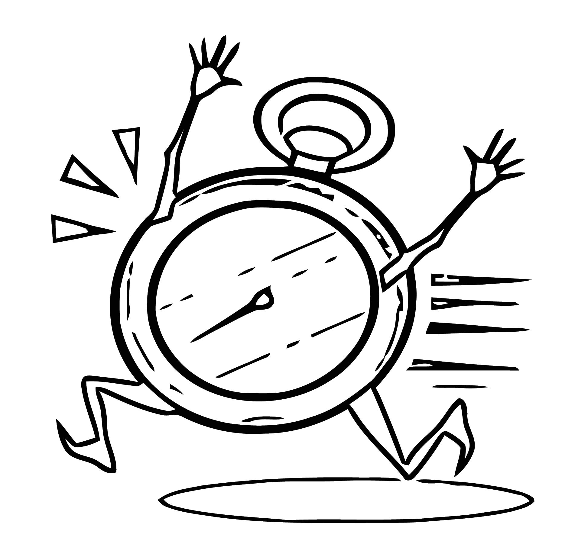Clock 1 Free Printable Cartoonized 1 Free Printable Coloring Page