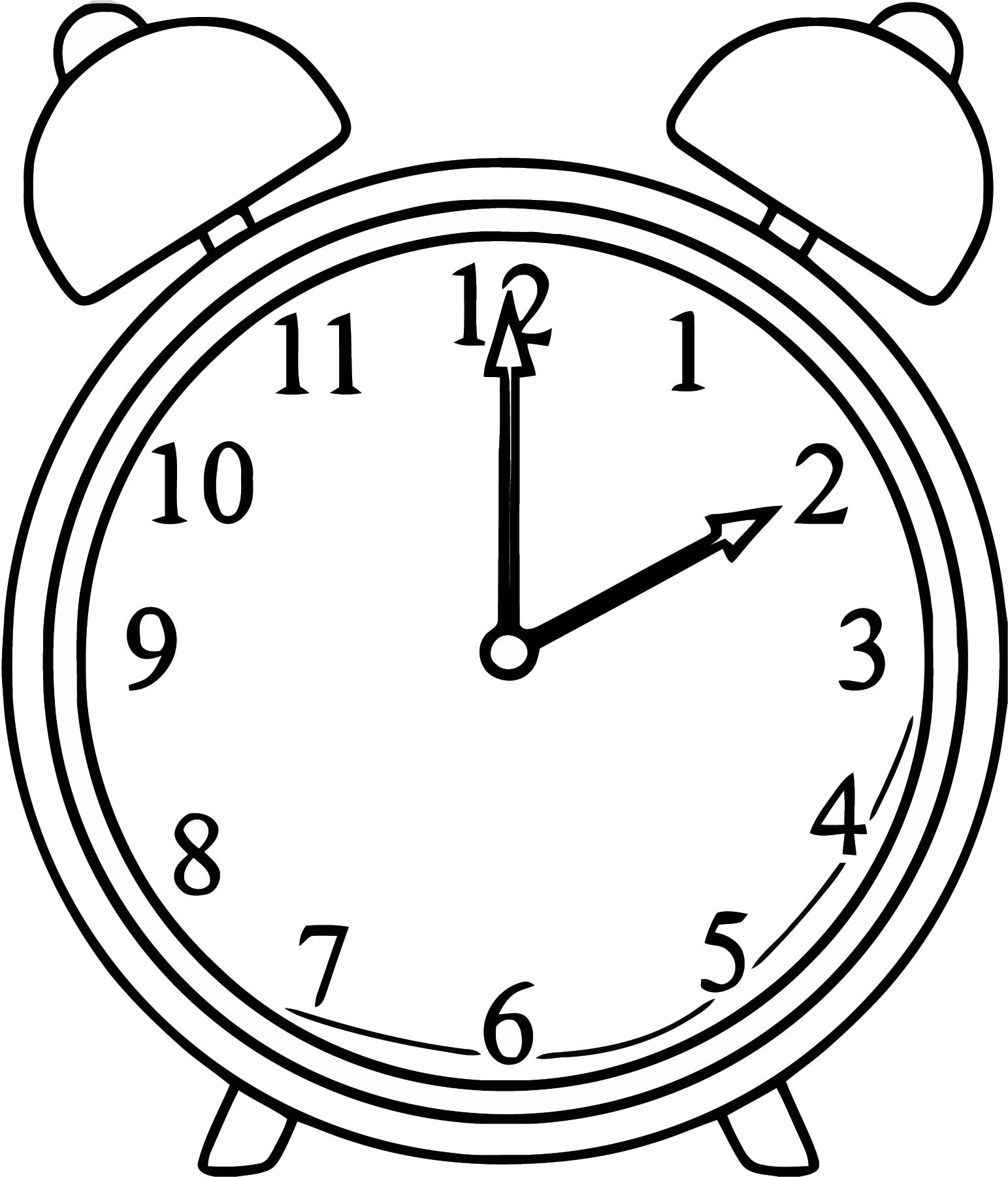 Clock Clip Art Alarm Clo Free Printable Ck Cartoonized Free Printable Coloring Page