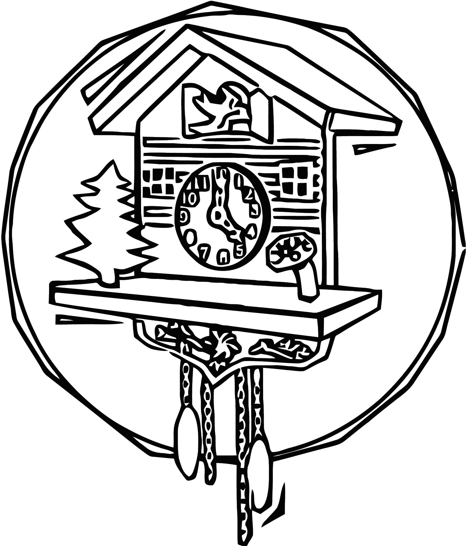 Clock Cuckoo Free Printable 1 Cartoonized Free Printable Coloring Page