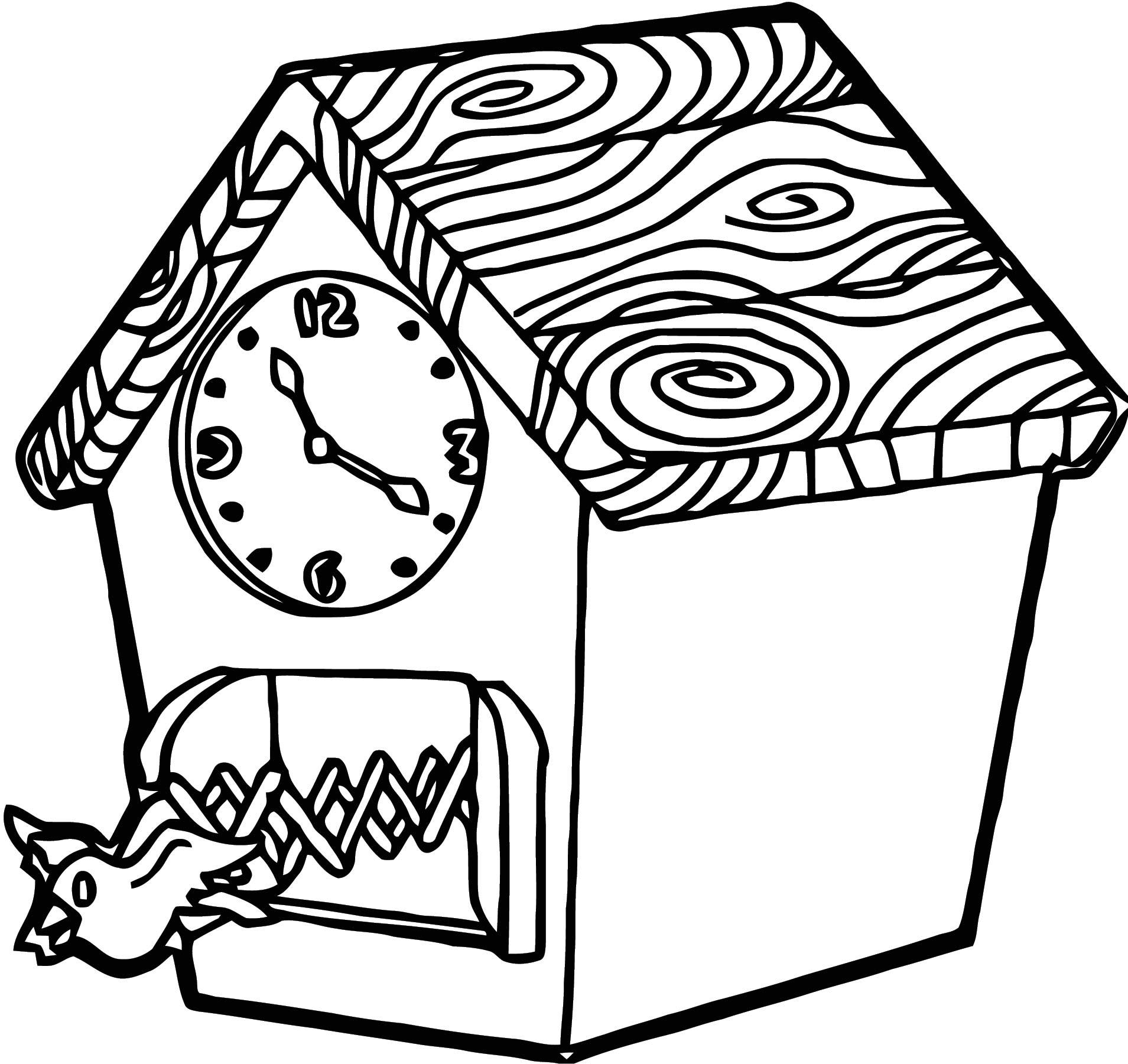 Clock Cuckoo Free Printable 2 Cartoonized Free Printable Coloring Page
