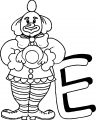 Clown E Letter Coloring Page