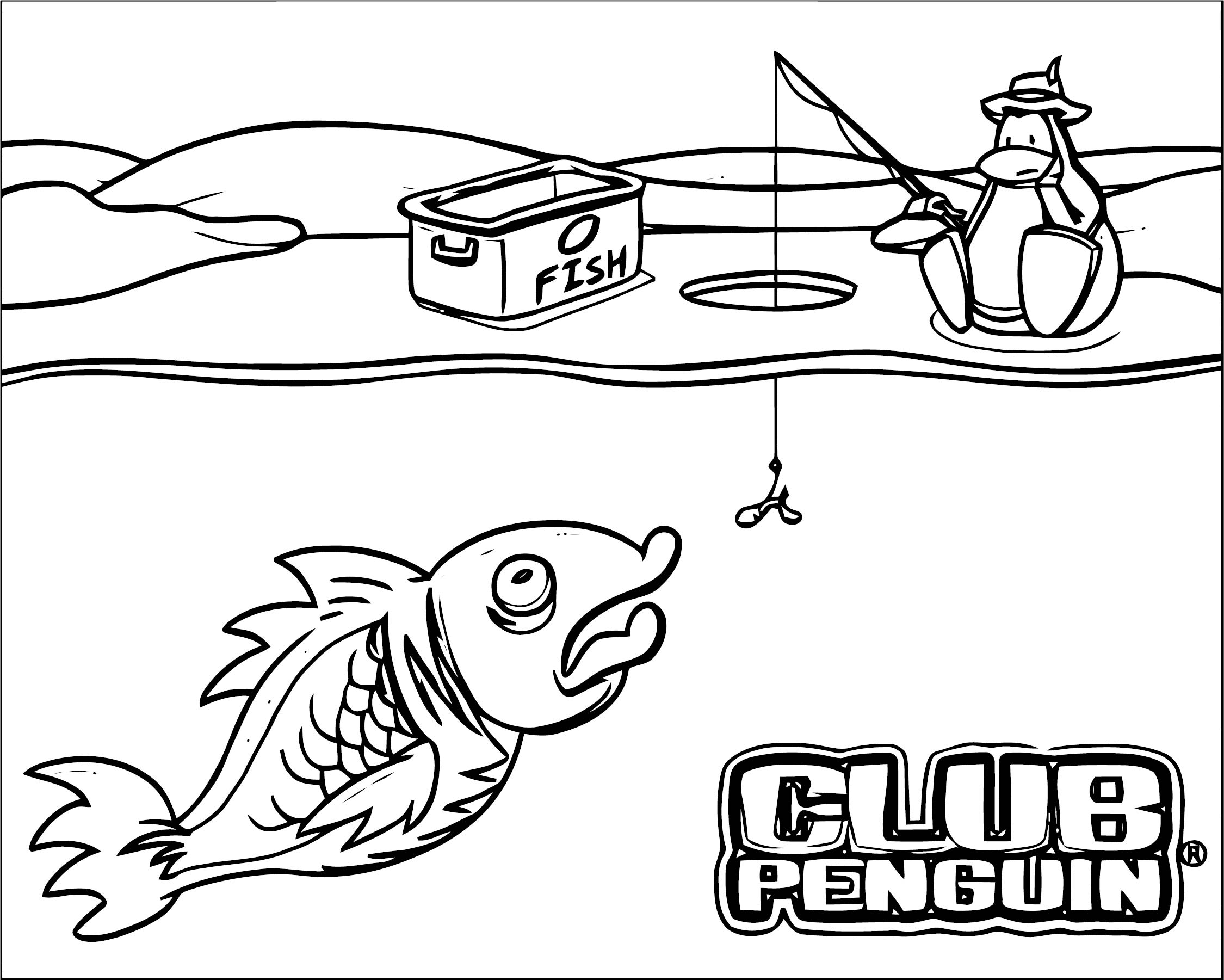 Club Penguin Club Penguin Catch Fish Coloring Page