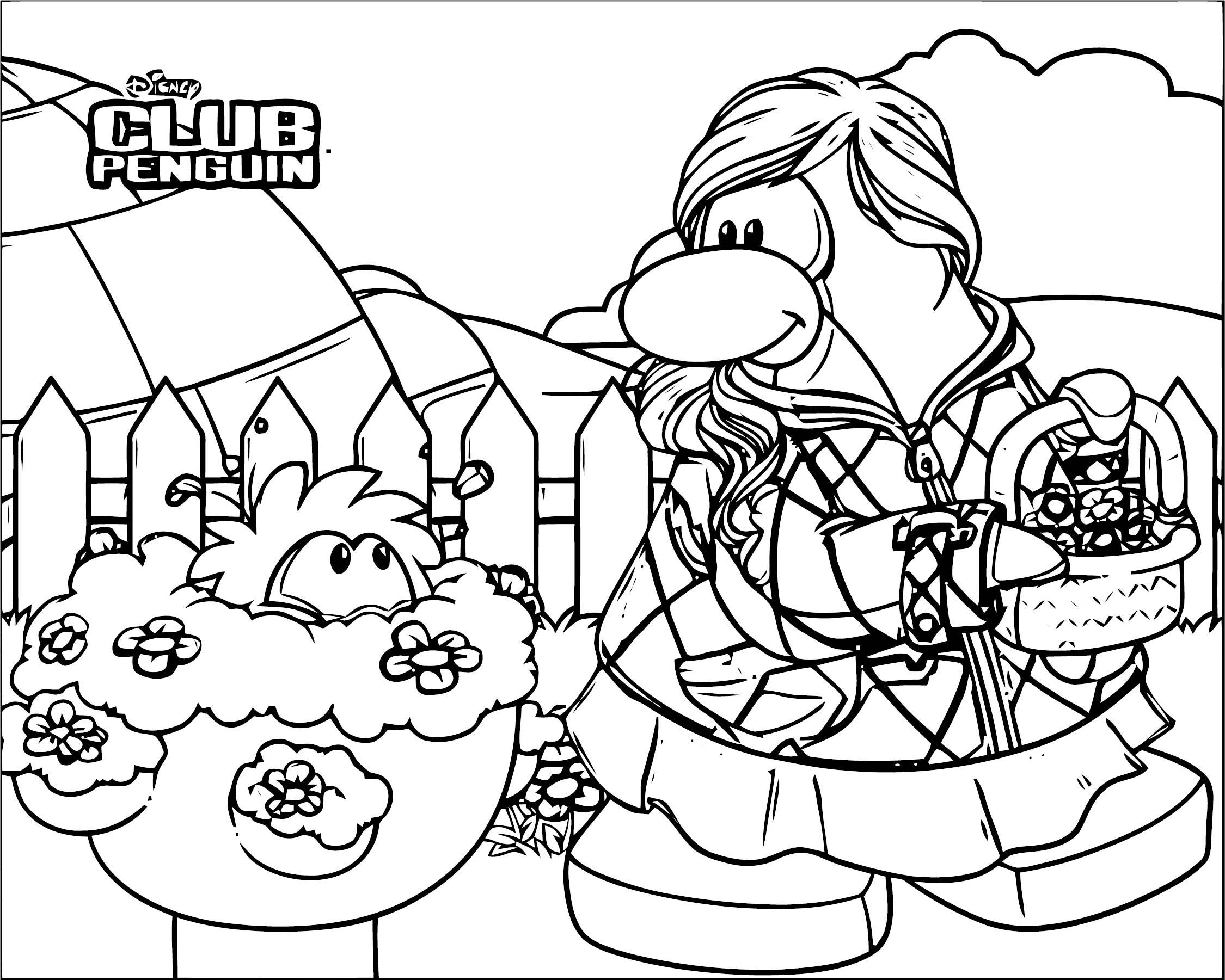 club penguin coloring pages of rockhopper exploration | Club Penguin Coloringpage Spring | Wecoloringpage.com
