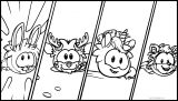 Club Penguin Four Characters Coloring Page