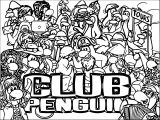 Club Penguin Logo Crowded Coloring Page