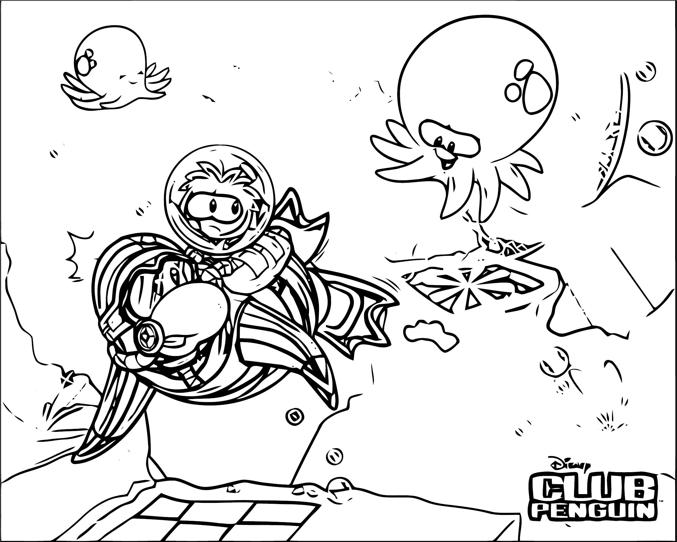 Club Penguin Wallpaper Coloring Page