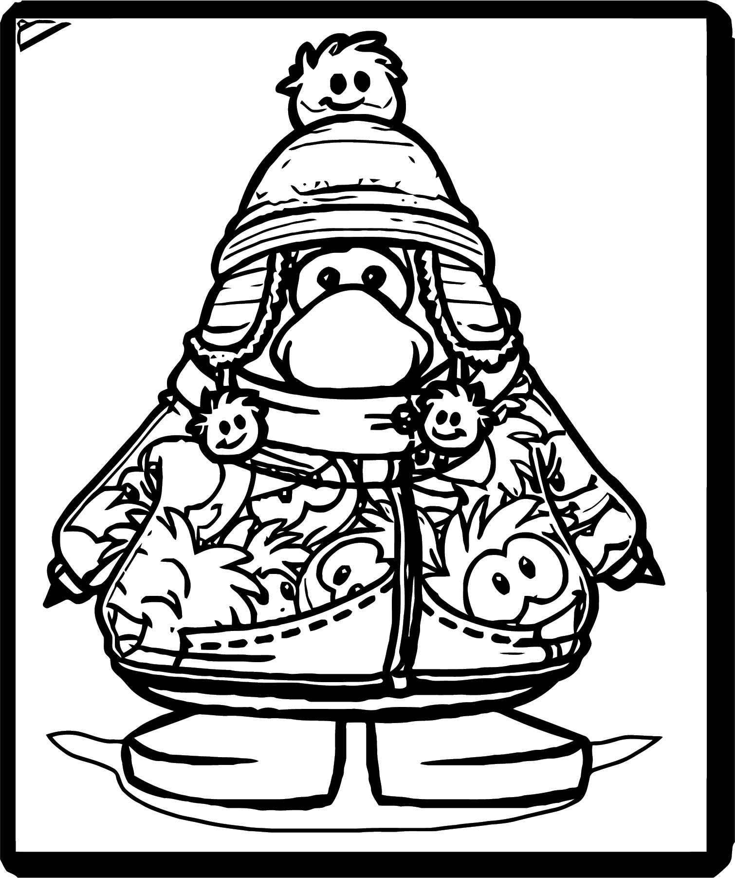 Club Penguin Wearing Puffle Stuff Coloring Page