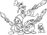 Disney The Three Musketeers Young Baby Mickey Mouse Donald Duck And Goofy Pluto Dog Coloring Pages