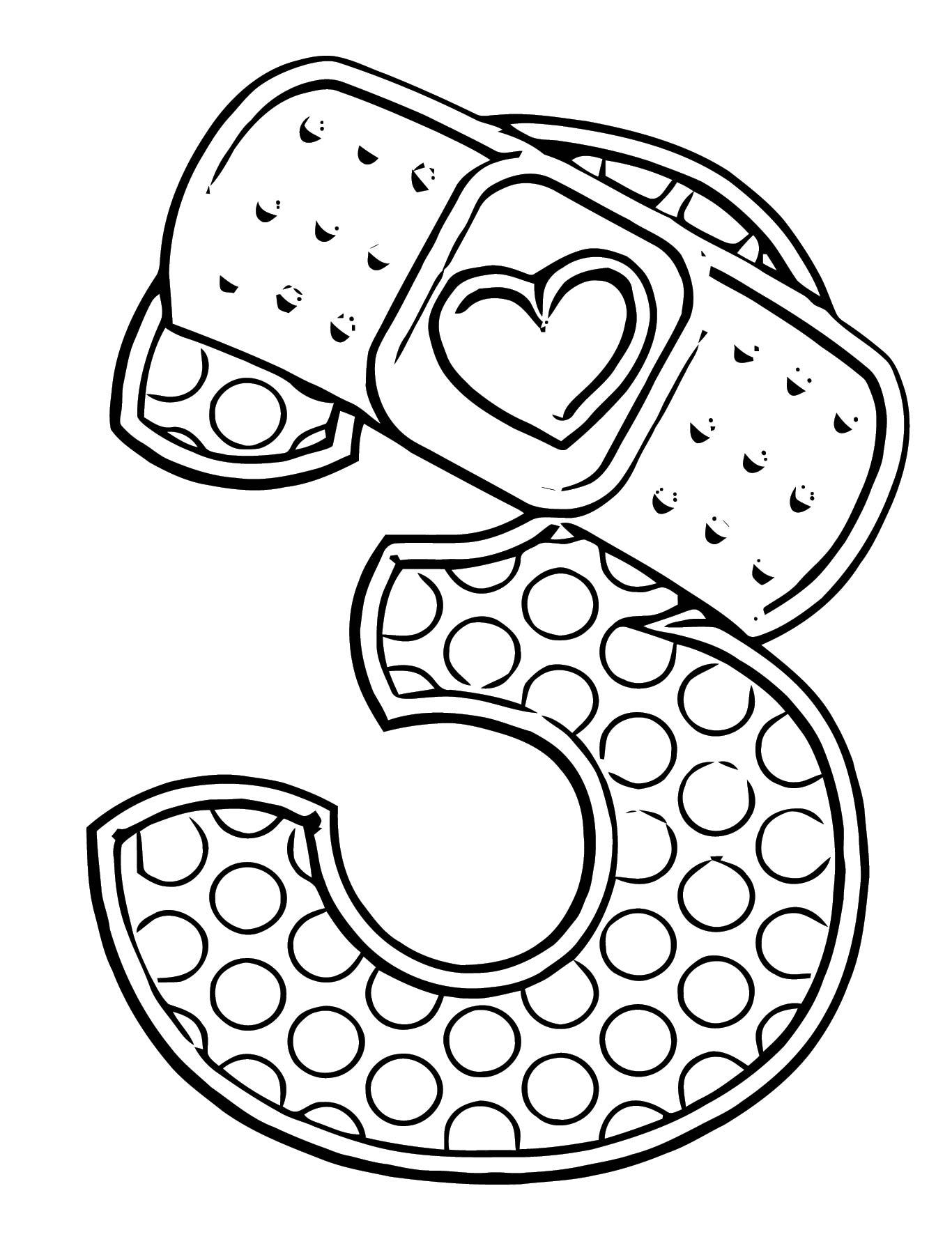 Doc Mcstuffins 3 Number Coloring Page