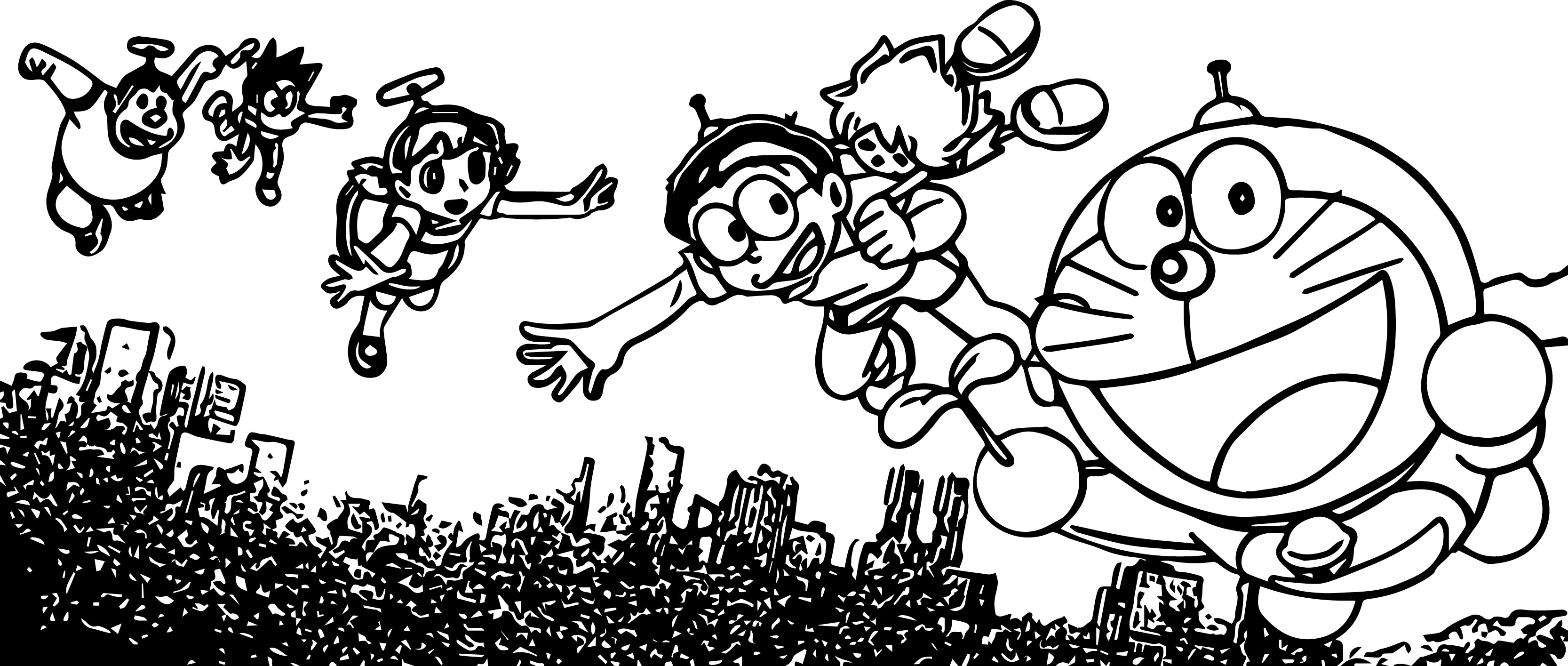 Doraemon And Friends Fly Coloring Page