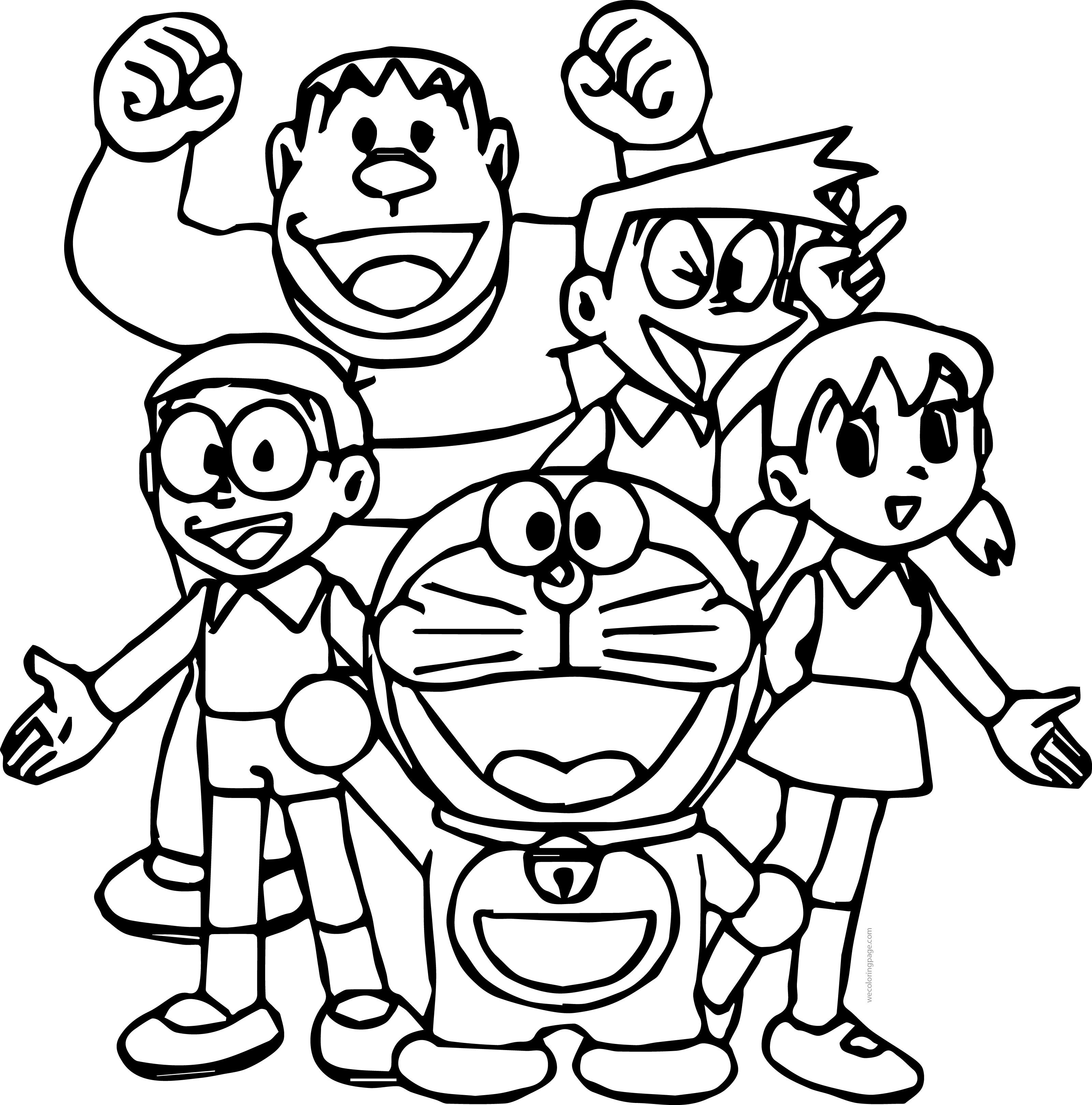 Doraemon Student Team Coloring Page