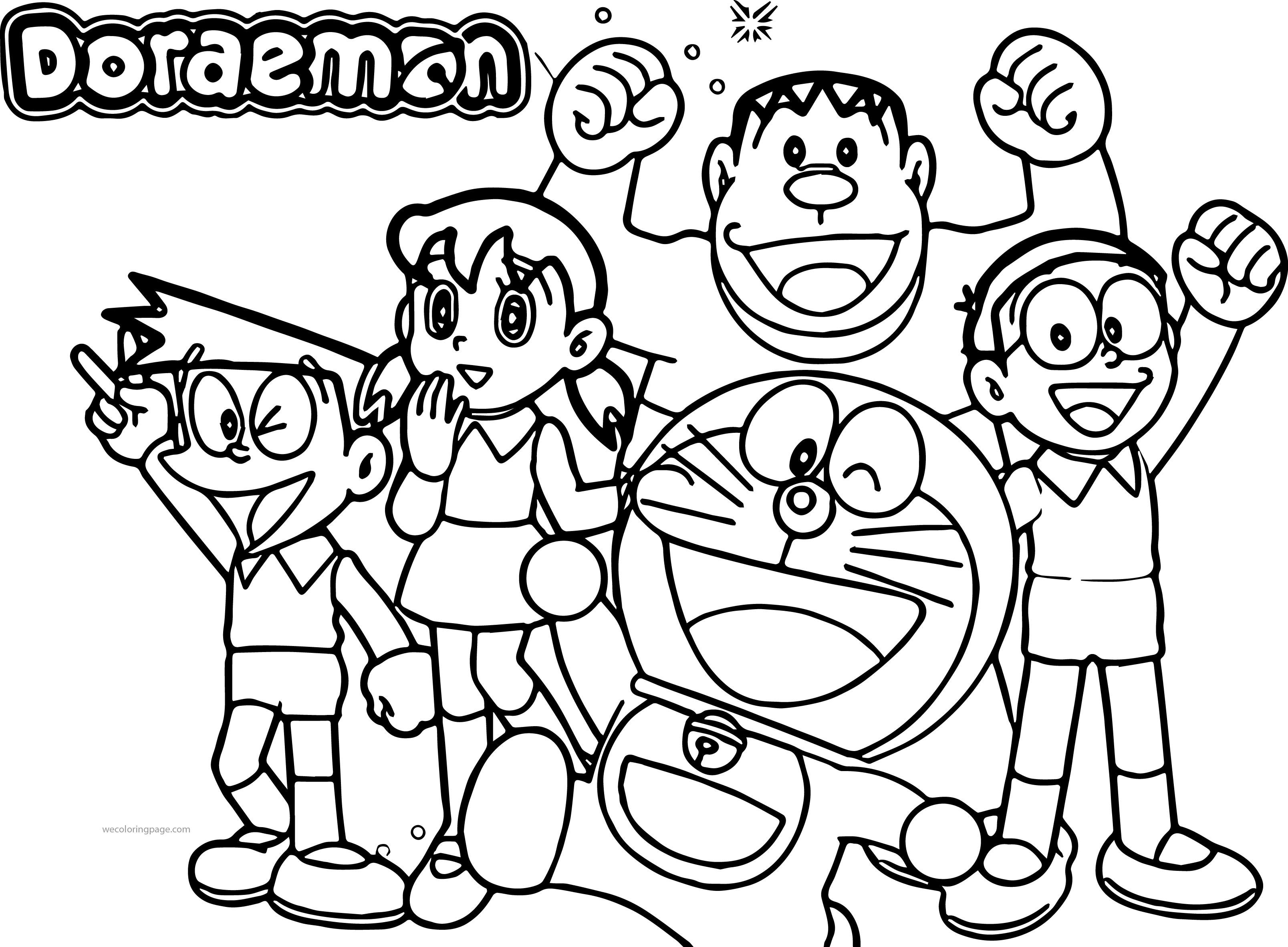 Doraemon Team Coloring Page