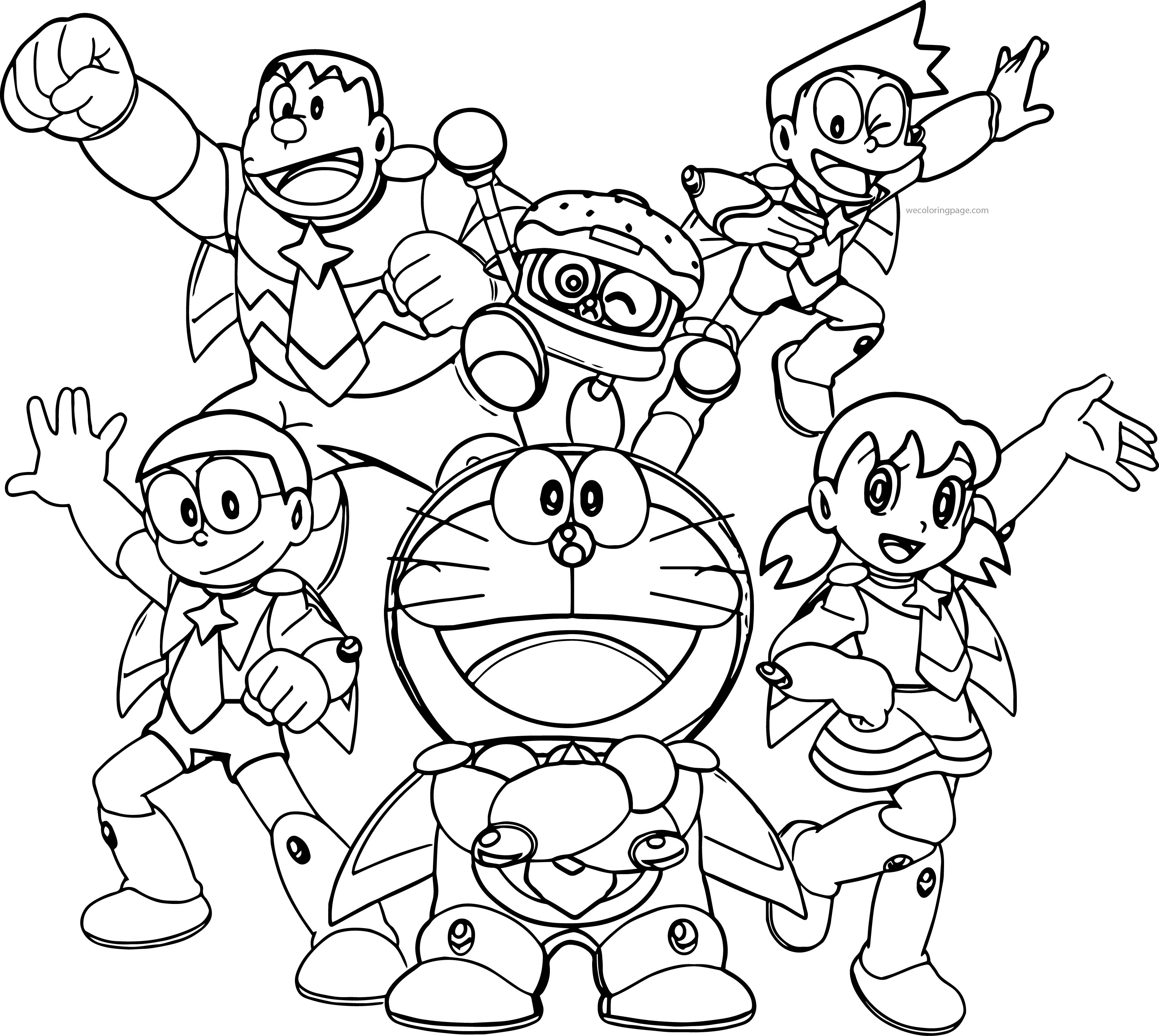 Doraemon Team Time Coloring Page