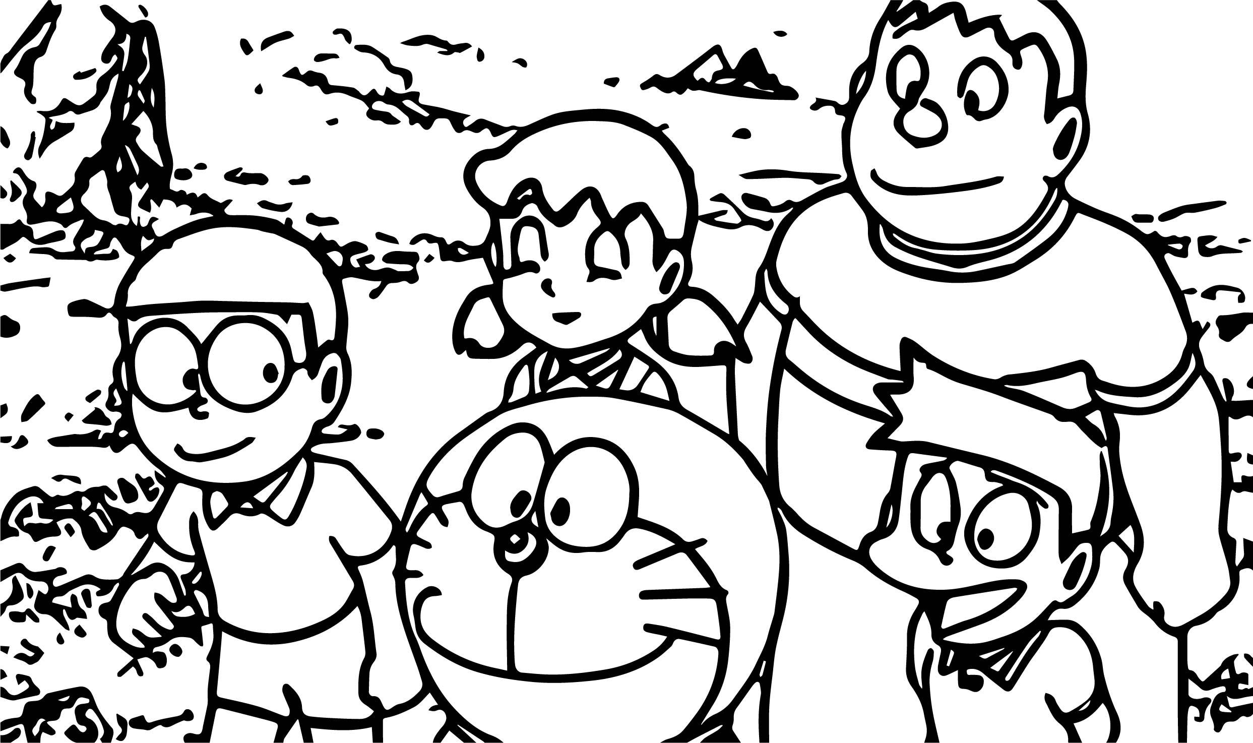 Doraemon Village Coloring Page
