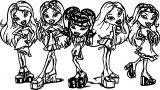 Five Girls Bratz Waiting Coloring Page