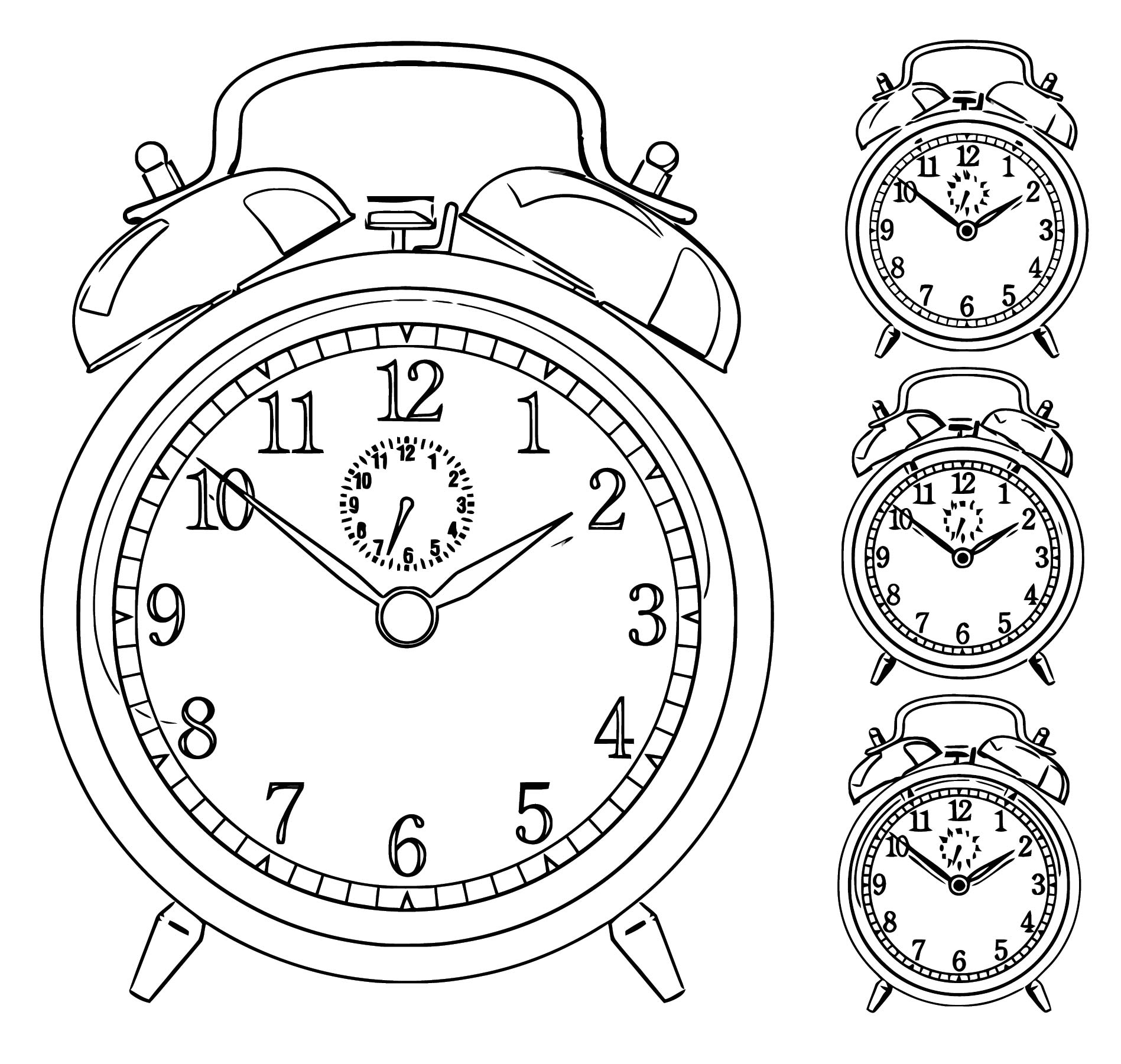Free Vector Clock Alarm Vector 004748 Wtc Free Printable 3 Cartoonized Free Printable Coloring Page