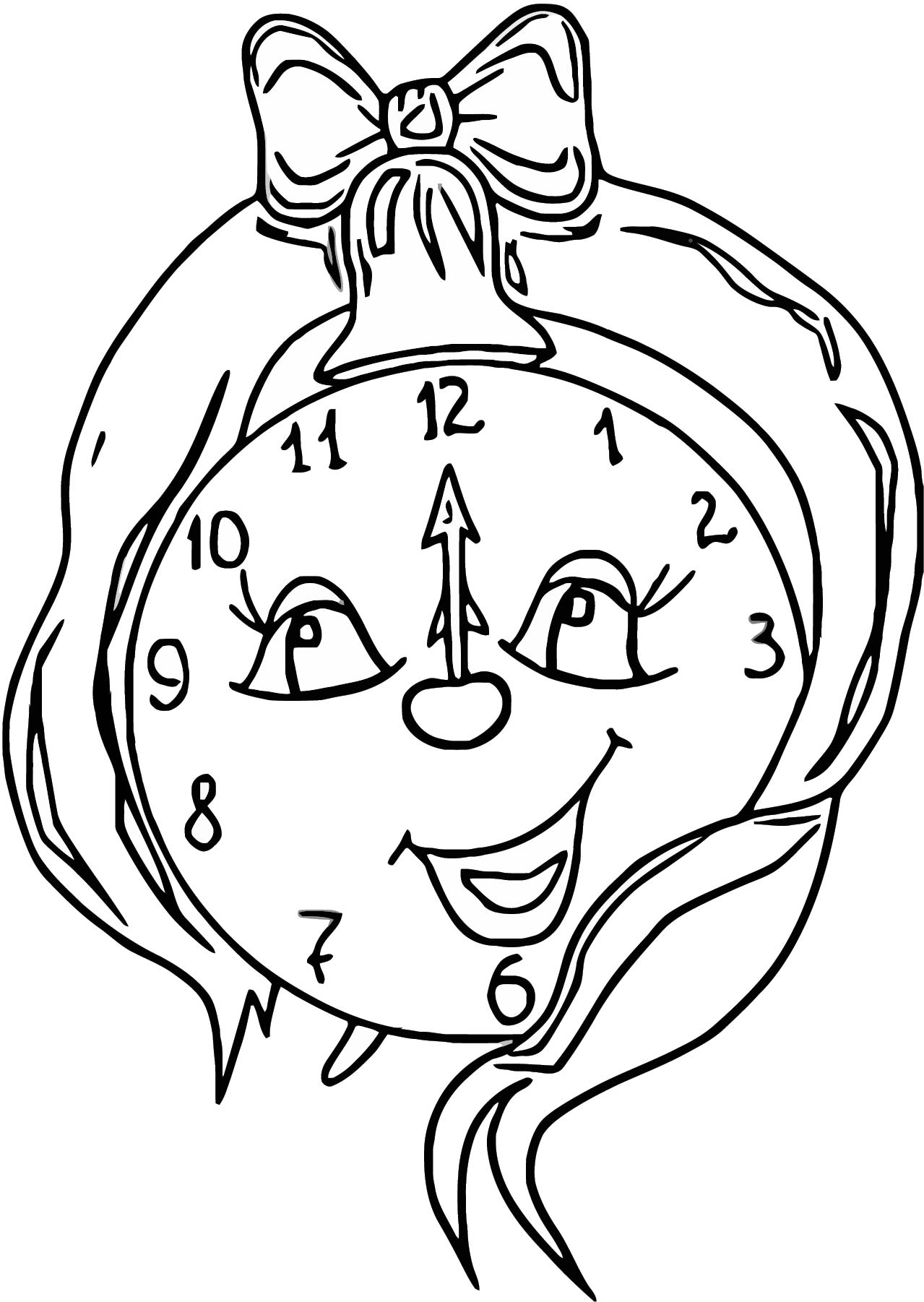 Funny Clock Free Clipa Free Printable Rt Cartoonized Free Printable Coloring Page