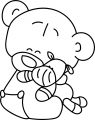 Kid Bear Love Toy Coloring Page