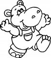 Kid Hippo Coloring Page