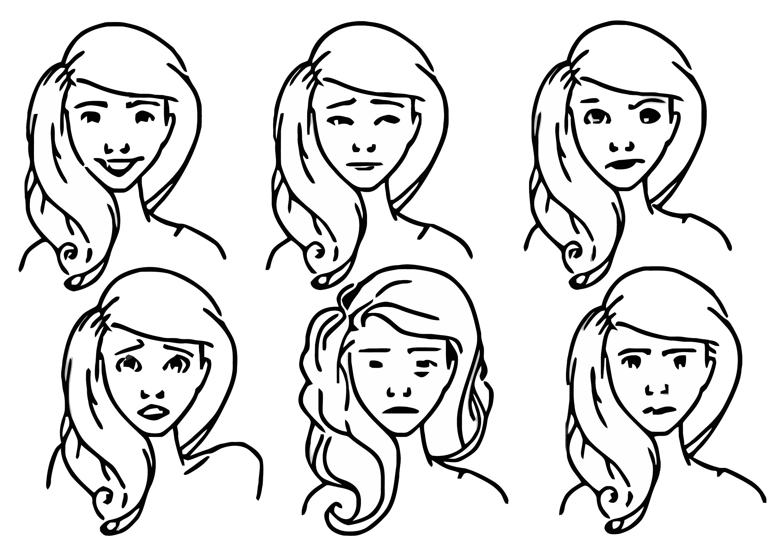 Nora Character Design Emotions Girl Coloring Page