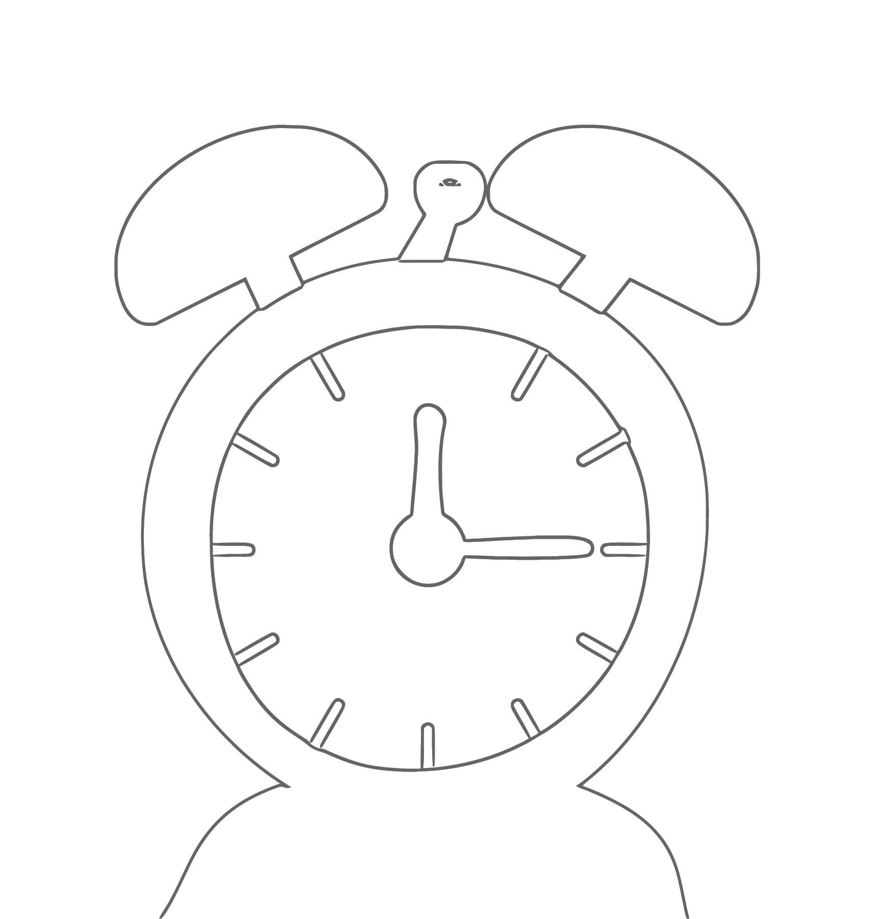 Outline Alarm Clo Free Printable Ck Cartoonized Free Printable Coloring Page
