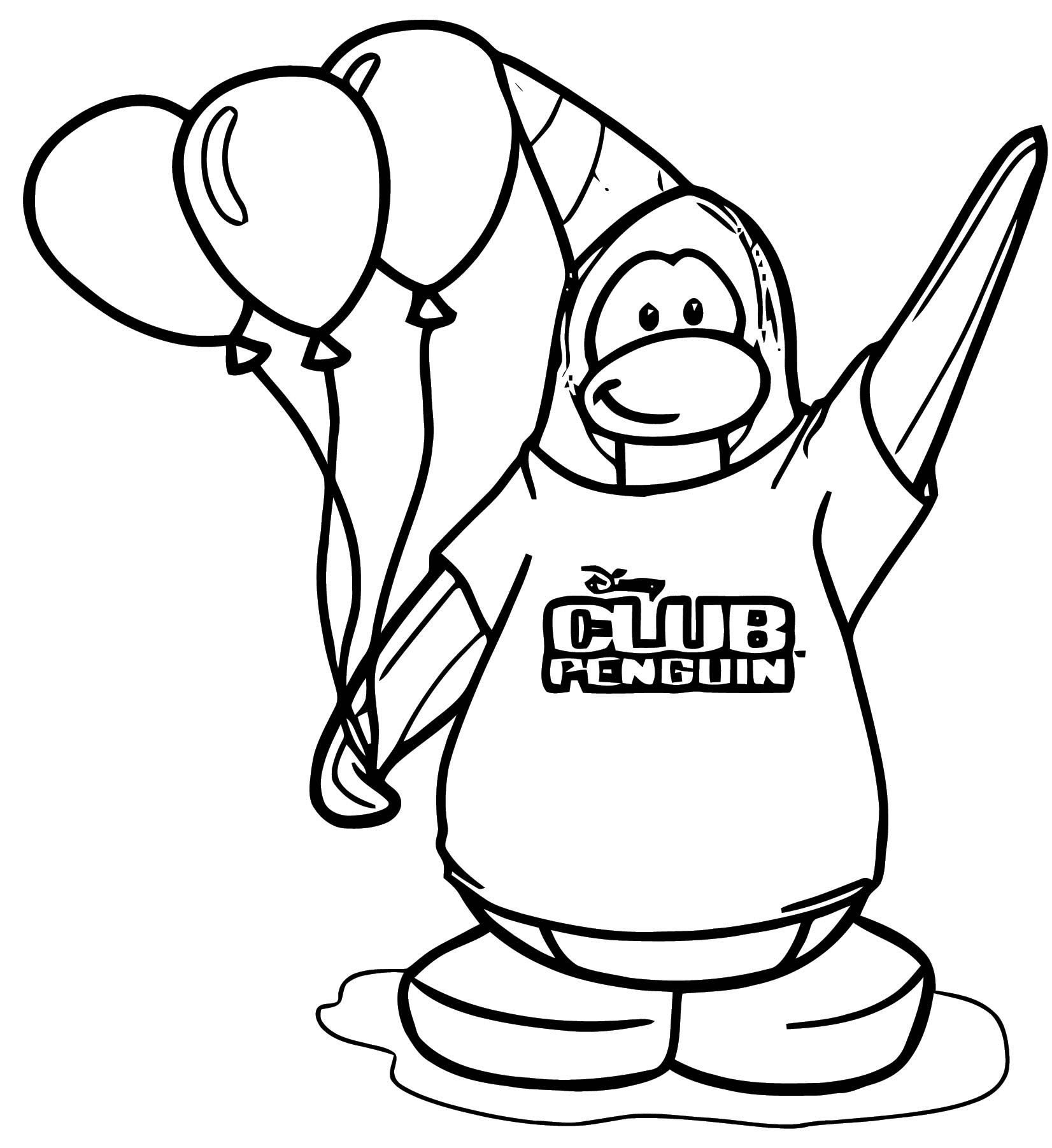 Party Penguin Coloring Page