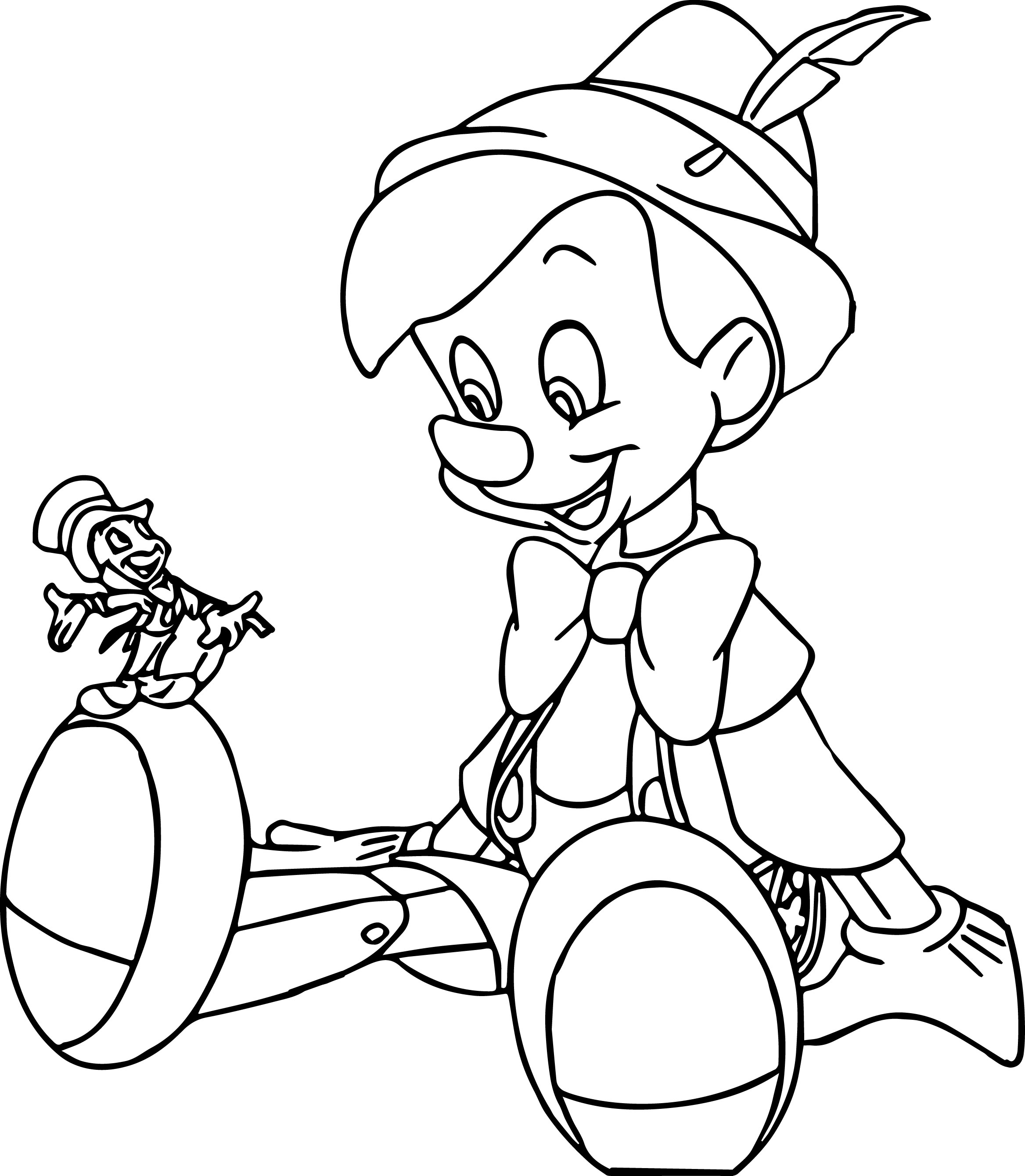 Pinocchio And Jiminy 2 Coloring Page 2
