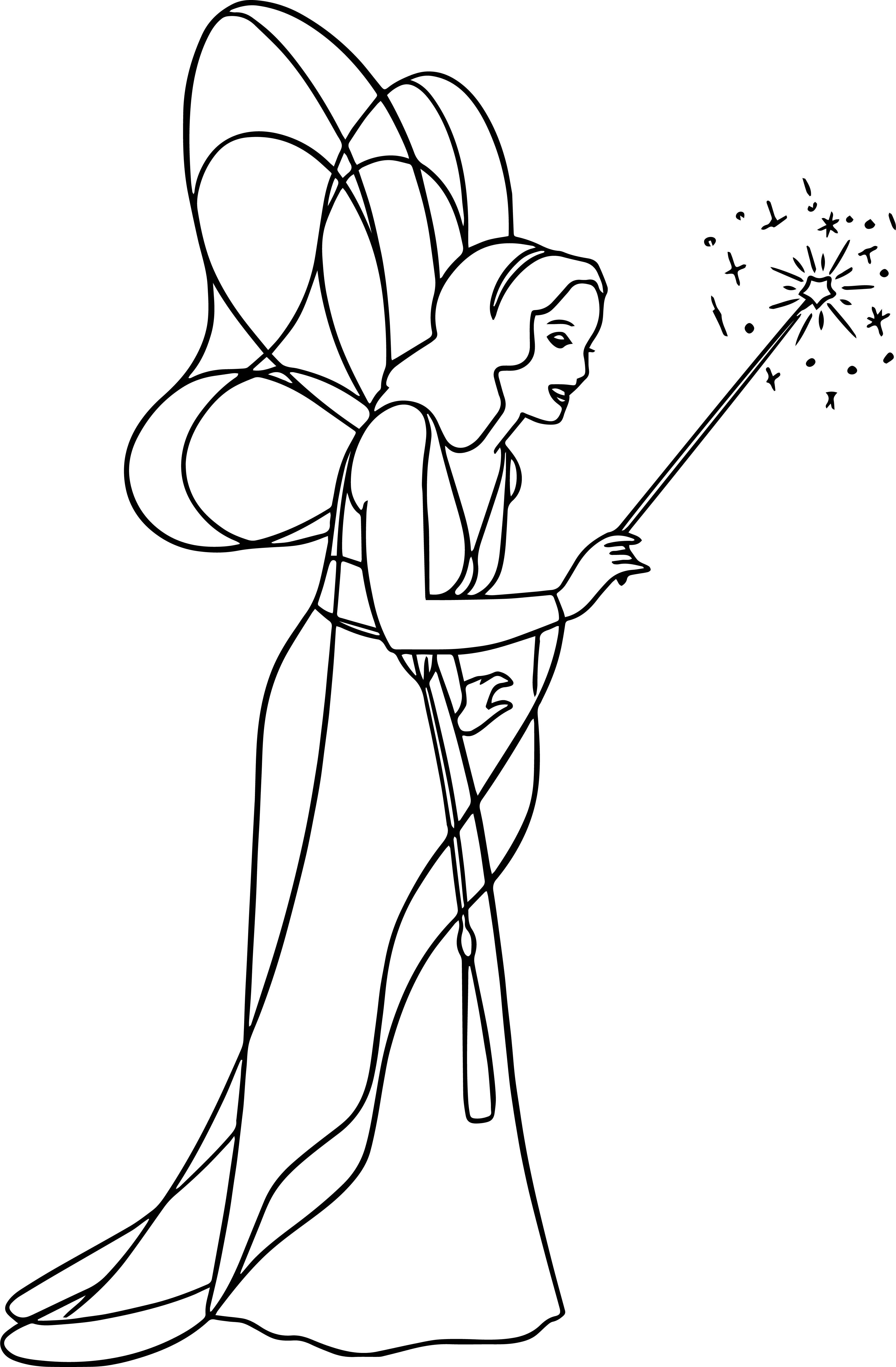 Pinocchio Blue Fairy Wand Coloring Pages