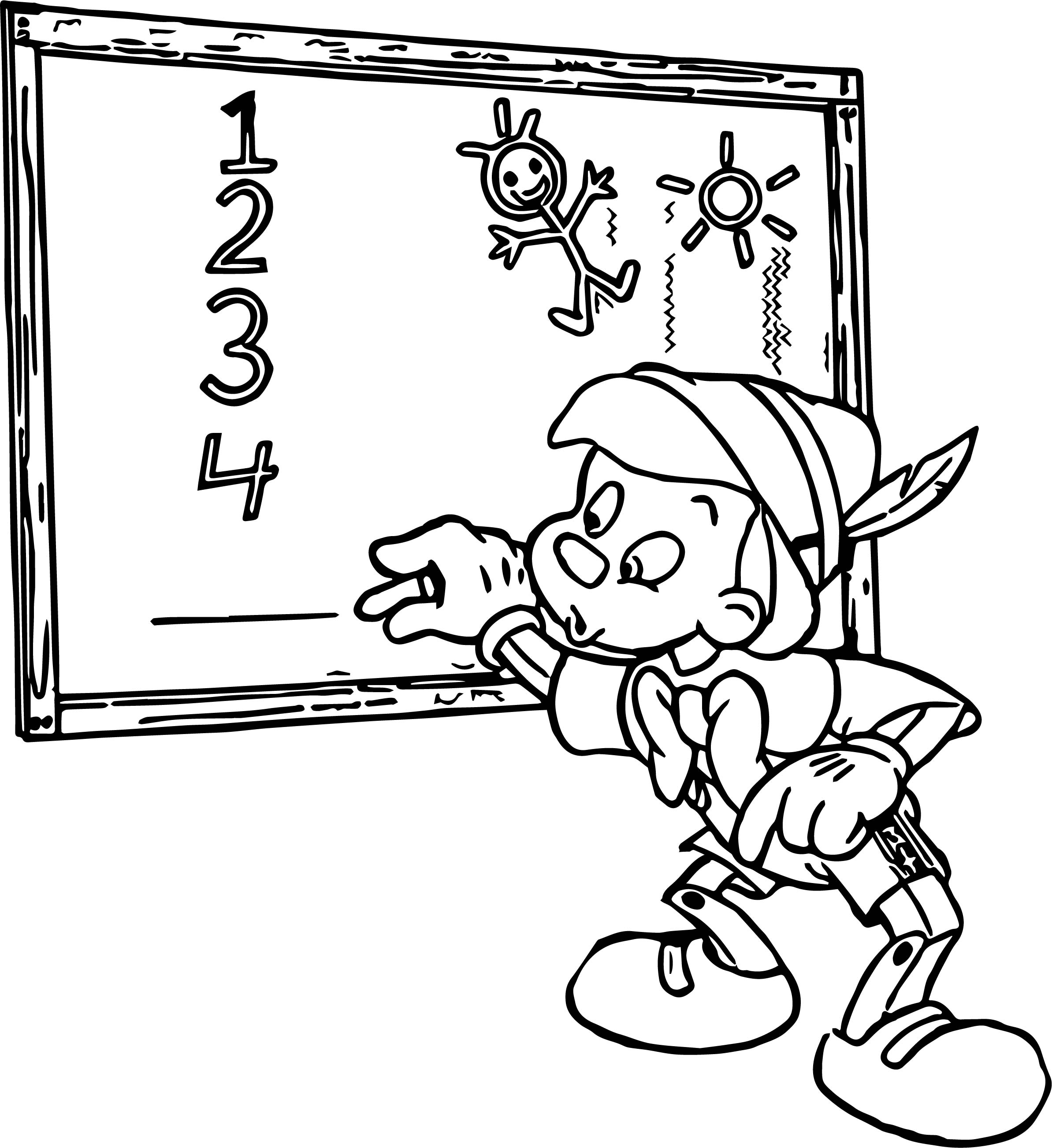 Pinocchio Board Teaching Coloring Pages