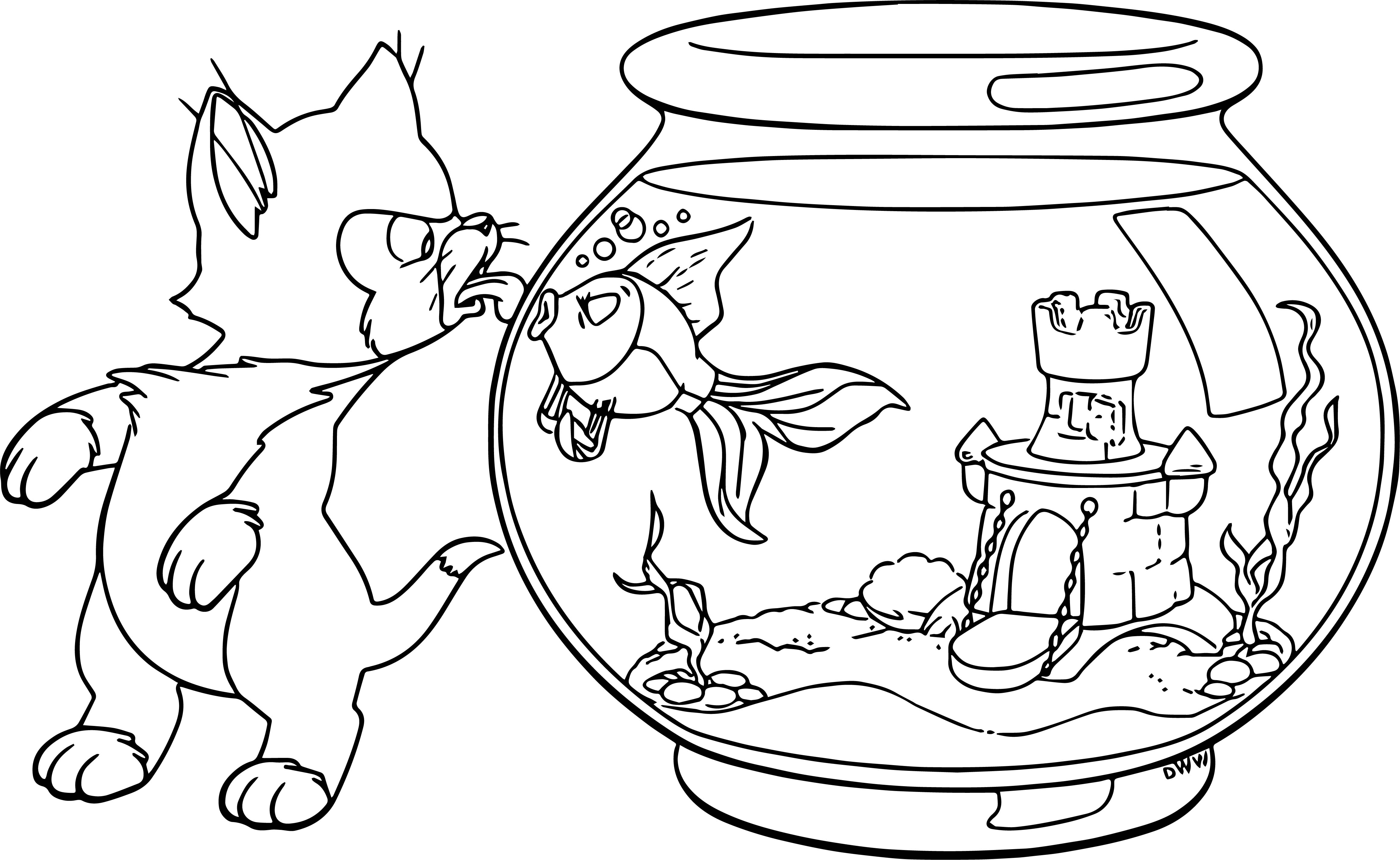 Pinocchio Figaro Cleo Fish Coloring Page