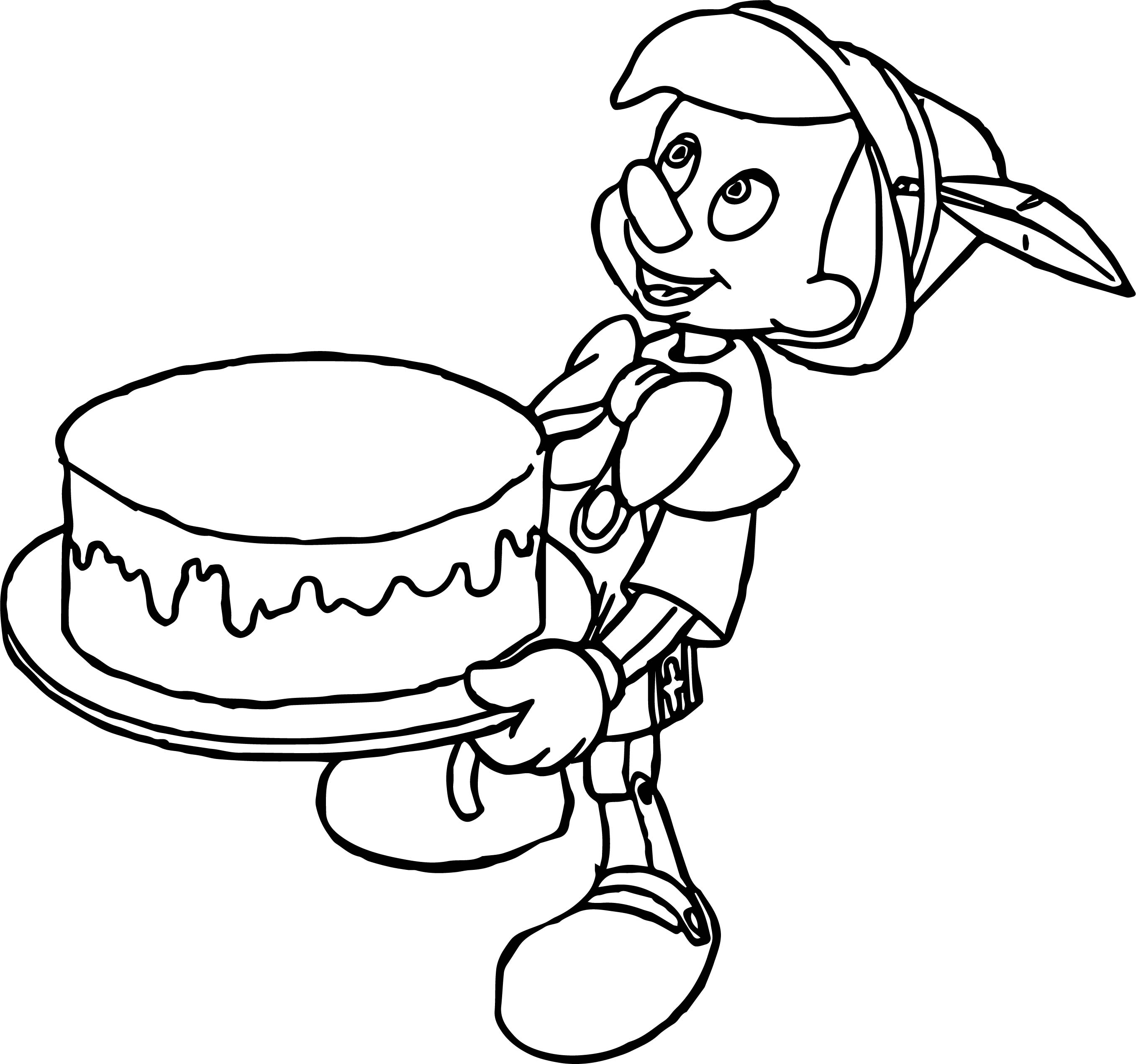 Pinocchio Making Cake Coloring Pages