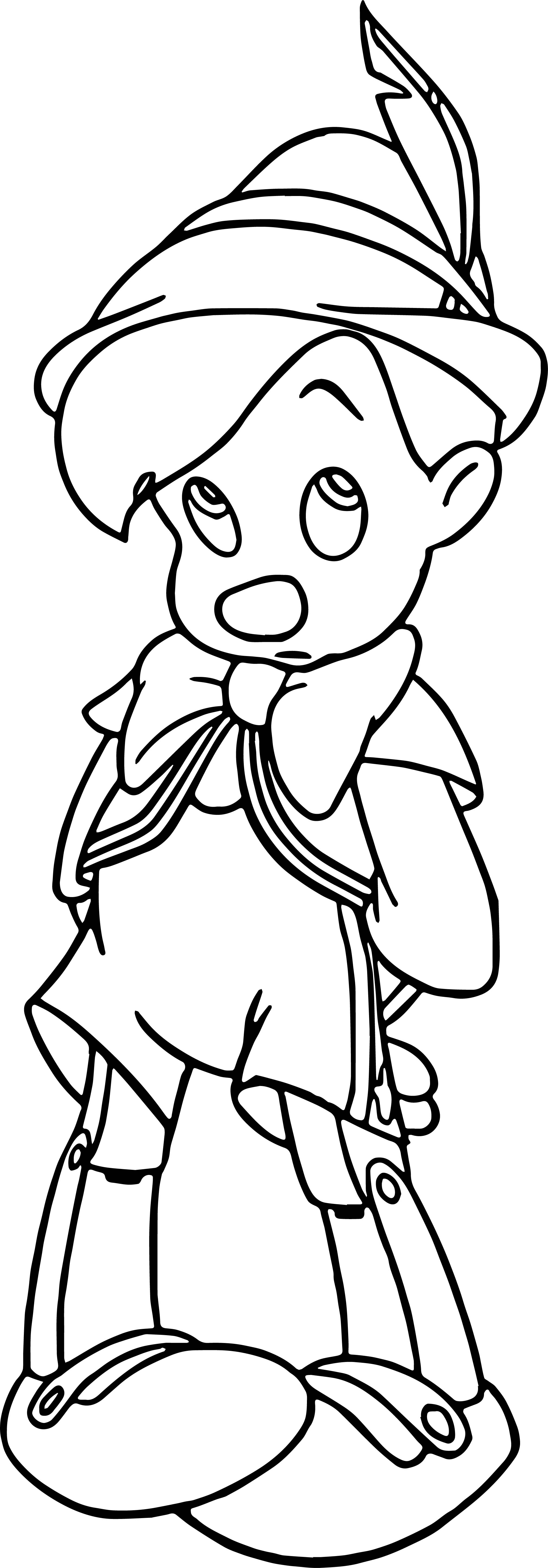 Pinocchio Shy Coloring Pages