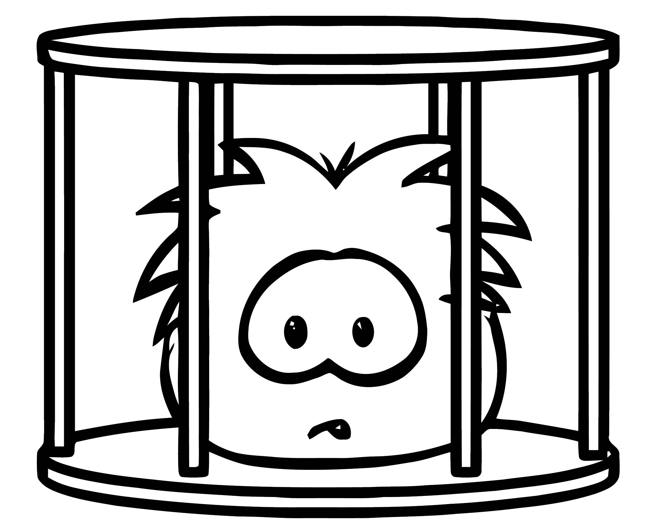 Puffle Captured Coloring Page