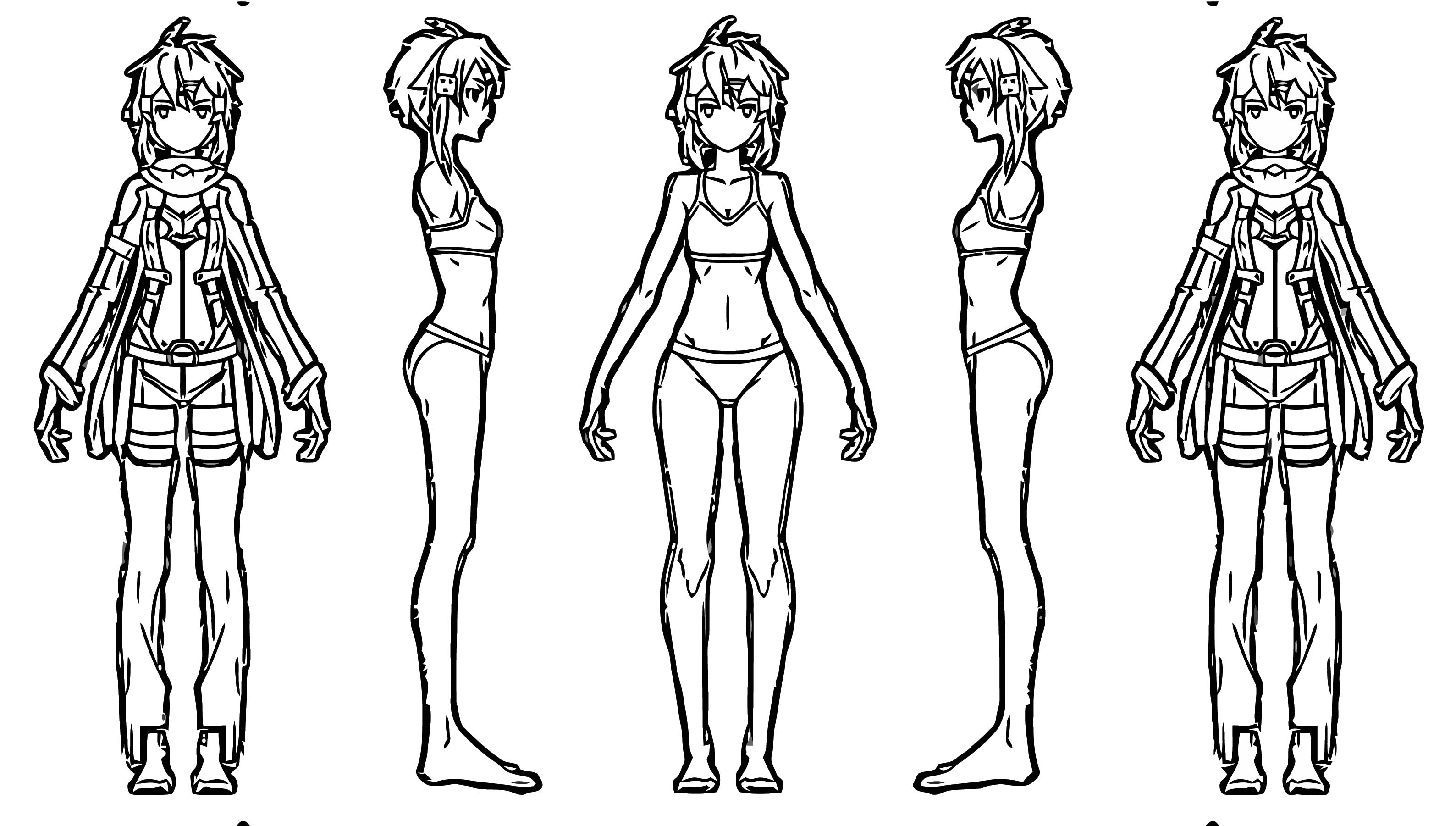 Sinon Charactersheet Cartoon Coloring Page