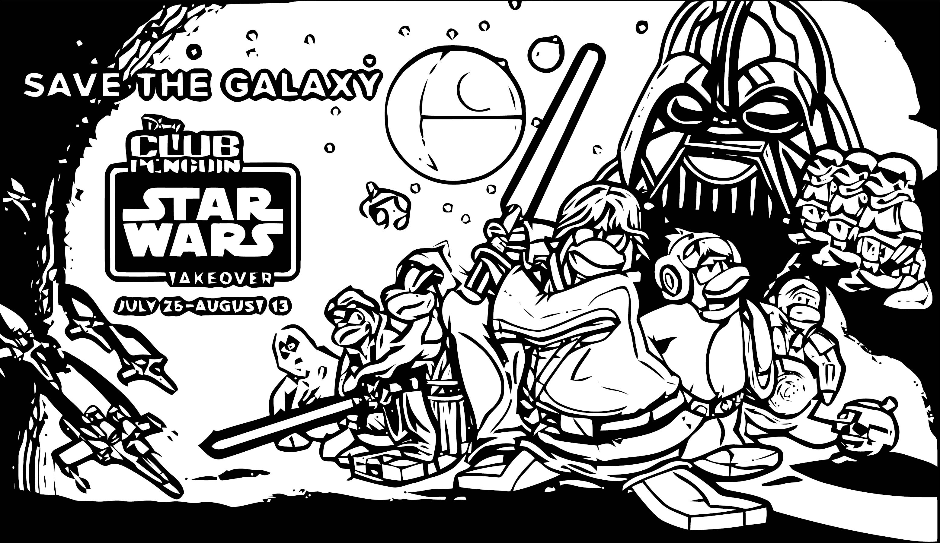 Star Wars Club Penguin Coloring Page