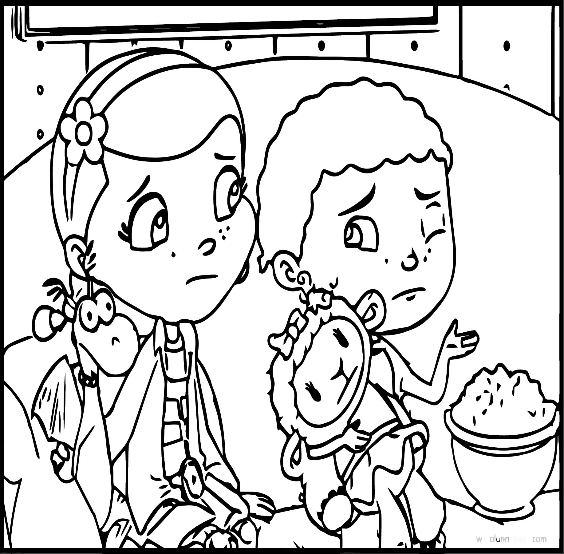 Stuffy Doc Donny Lambie Cartoon Coloring Page ...