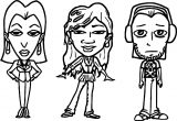 Three People Characters Cartoon Coloring Page