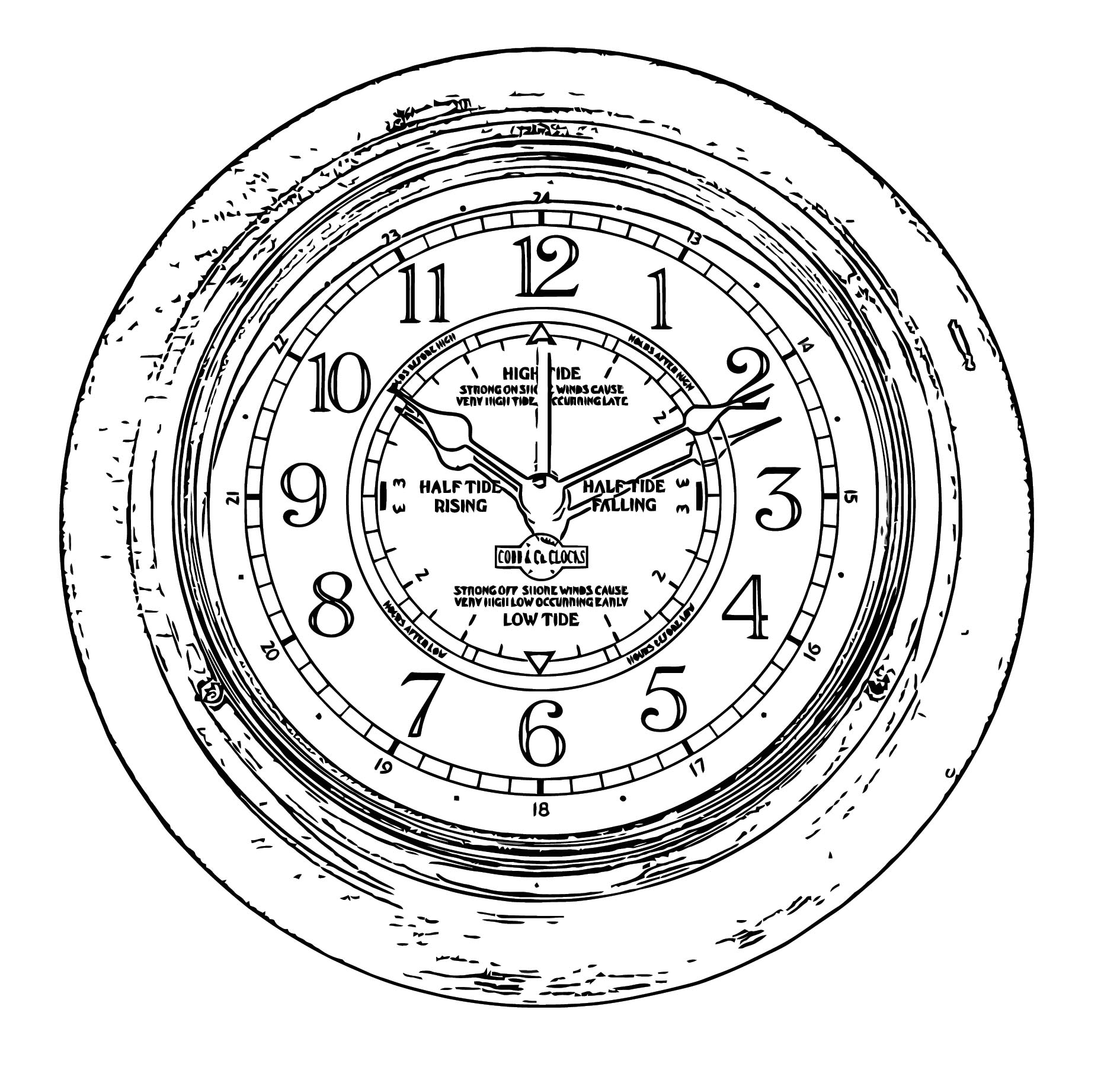 Time And Tide Clock Free Printable 2 Cartoonized Free Printable Coloring Page