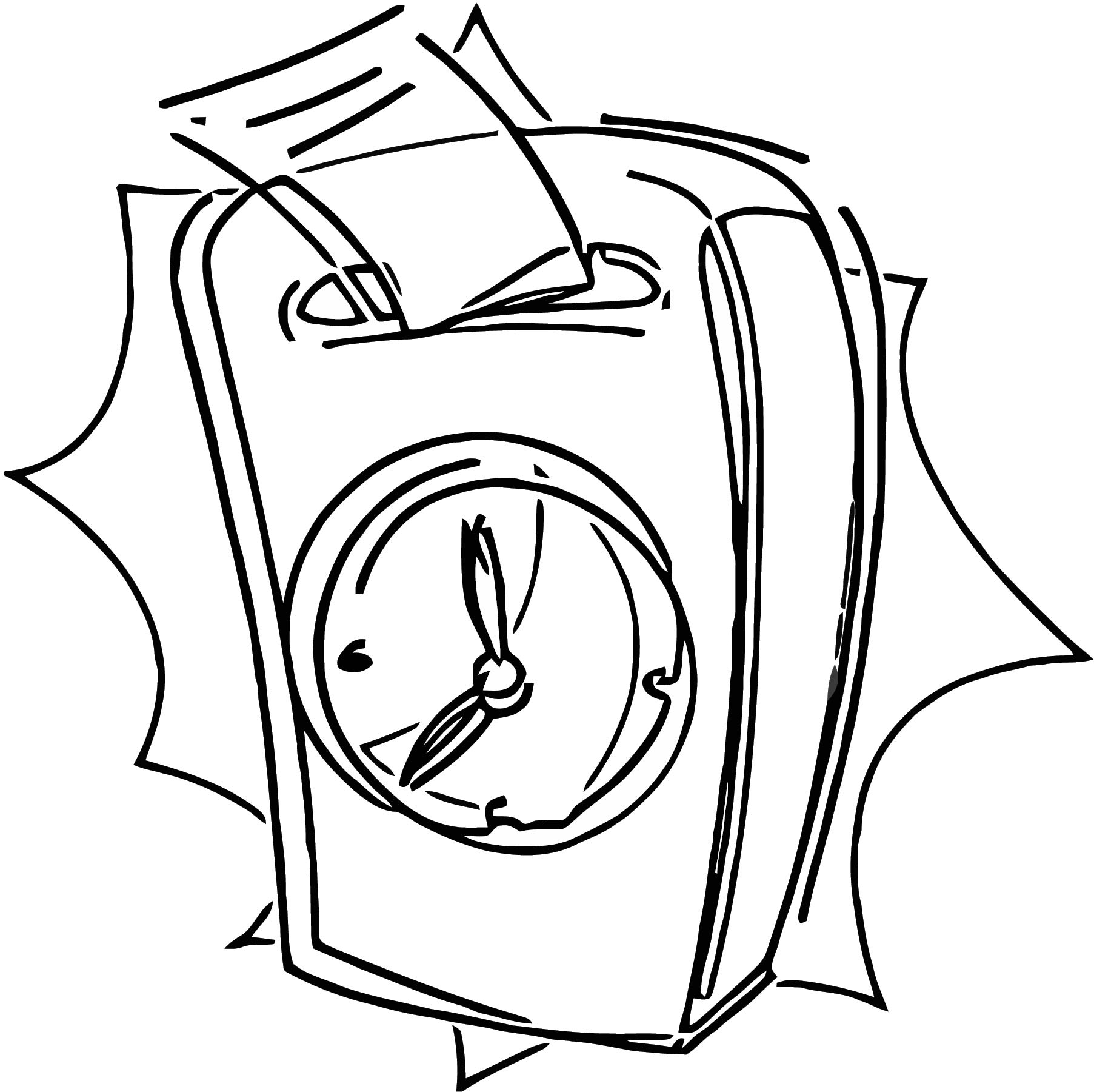 Time Clock Free Printable 1 Cartoonized Free Printable Coloring Page