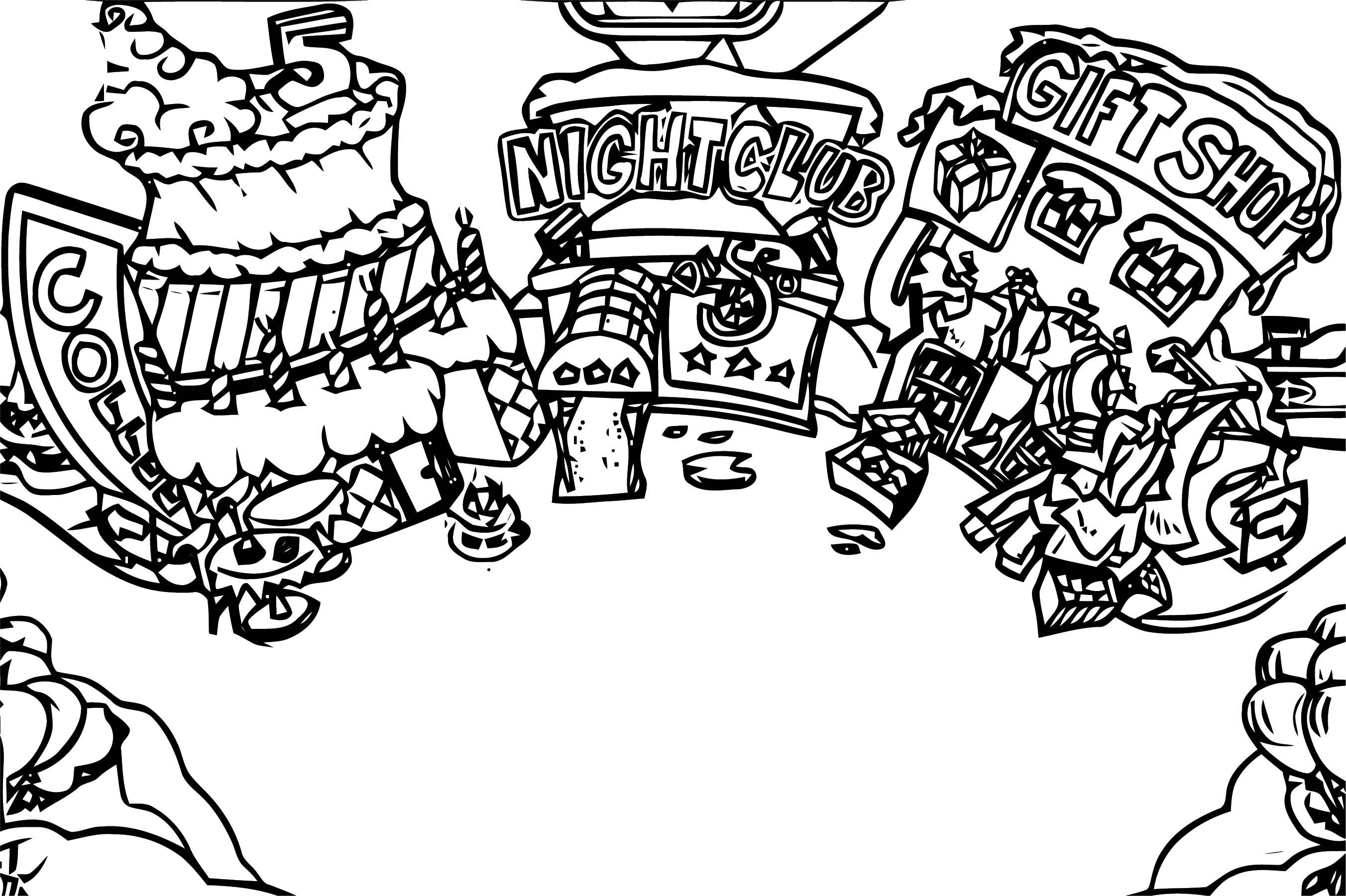 Town Coloring Page