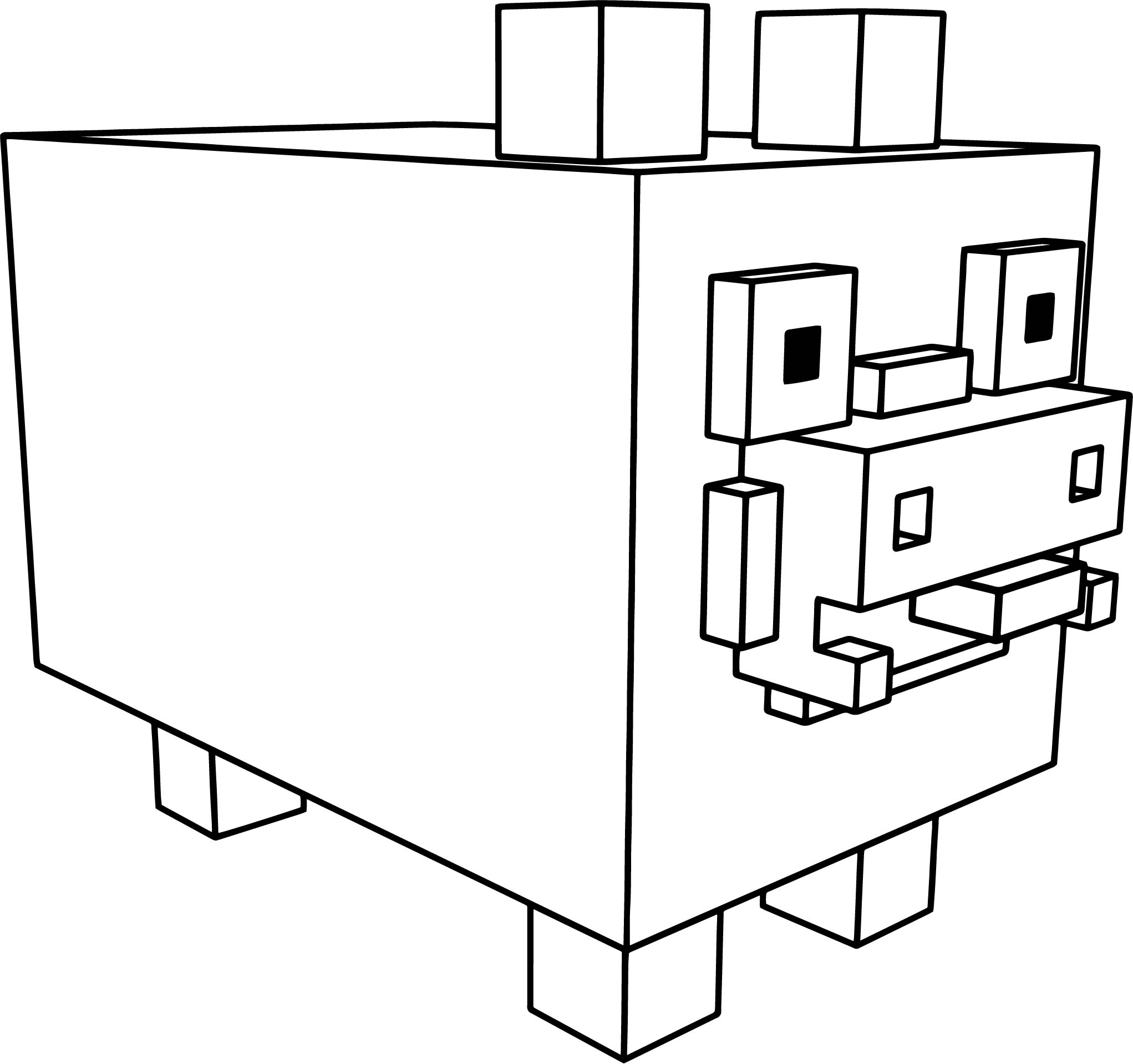 Voxel Pig Coloring Page